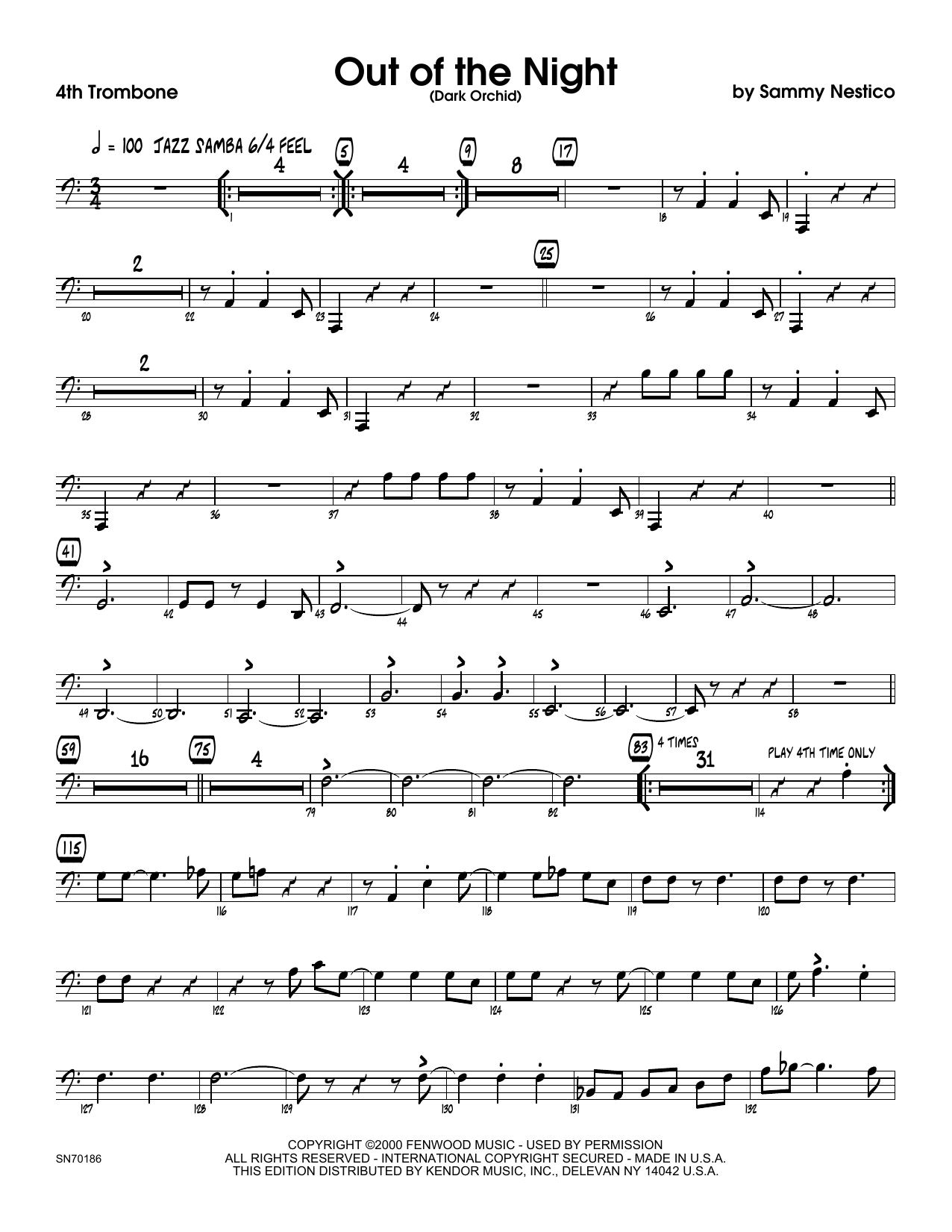 Out of the Night - 4th Trombone Sheet Music