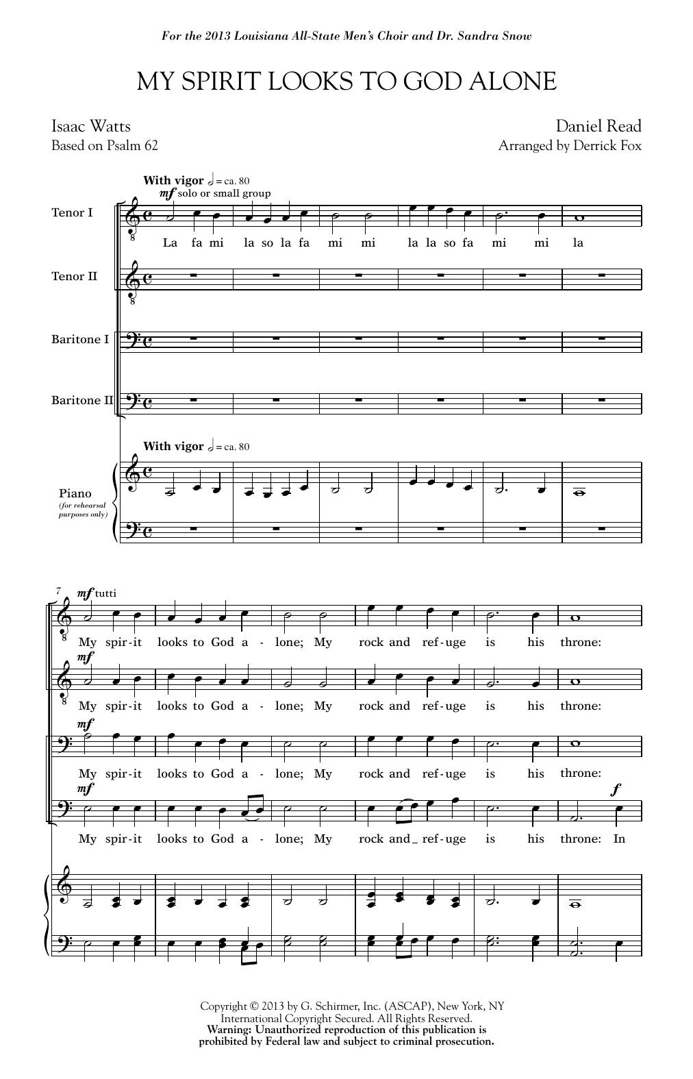My Spirit Looks To God Alone (TTBB Choir)