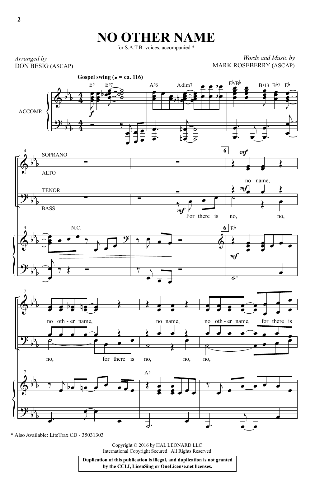 No Other Name Sheet Music