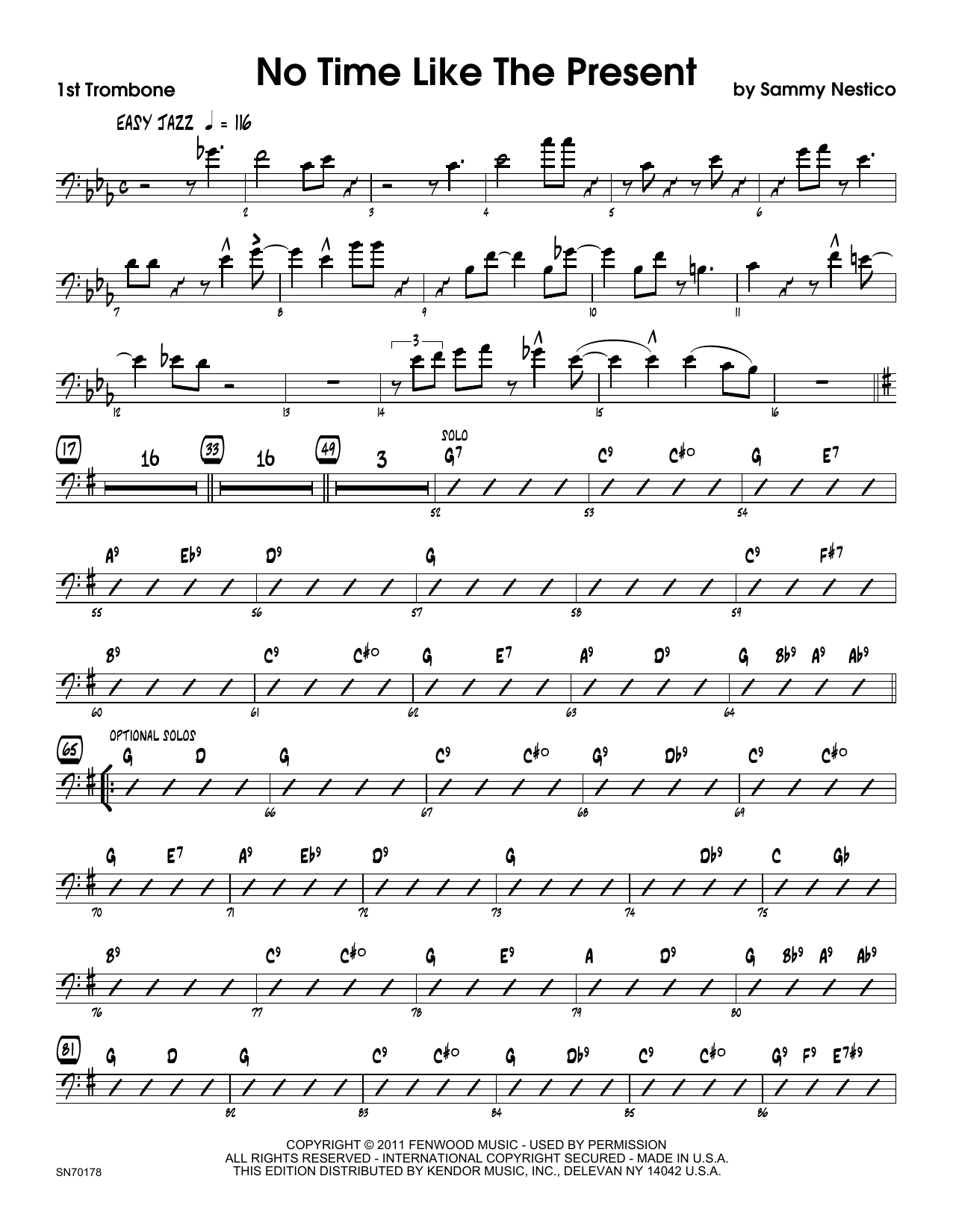 No Time Like The Present - 1st Trombone Sheet Music