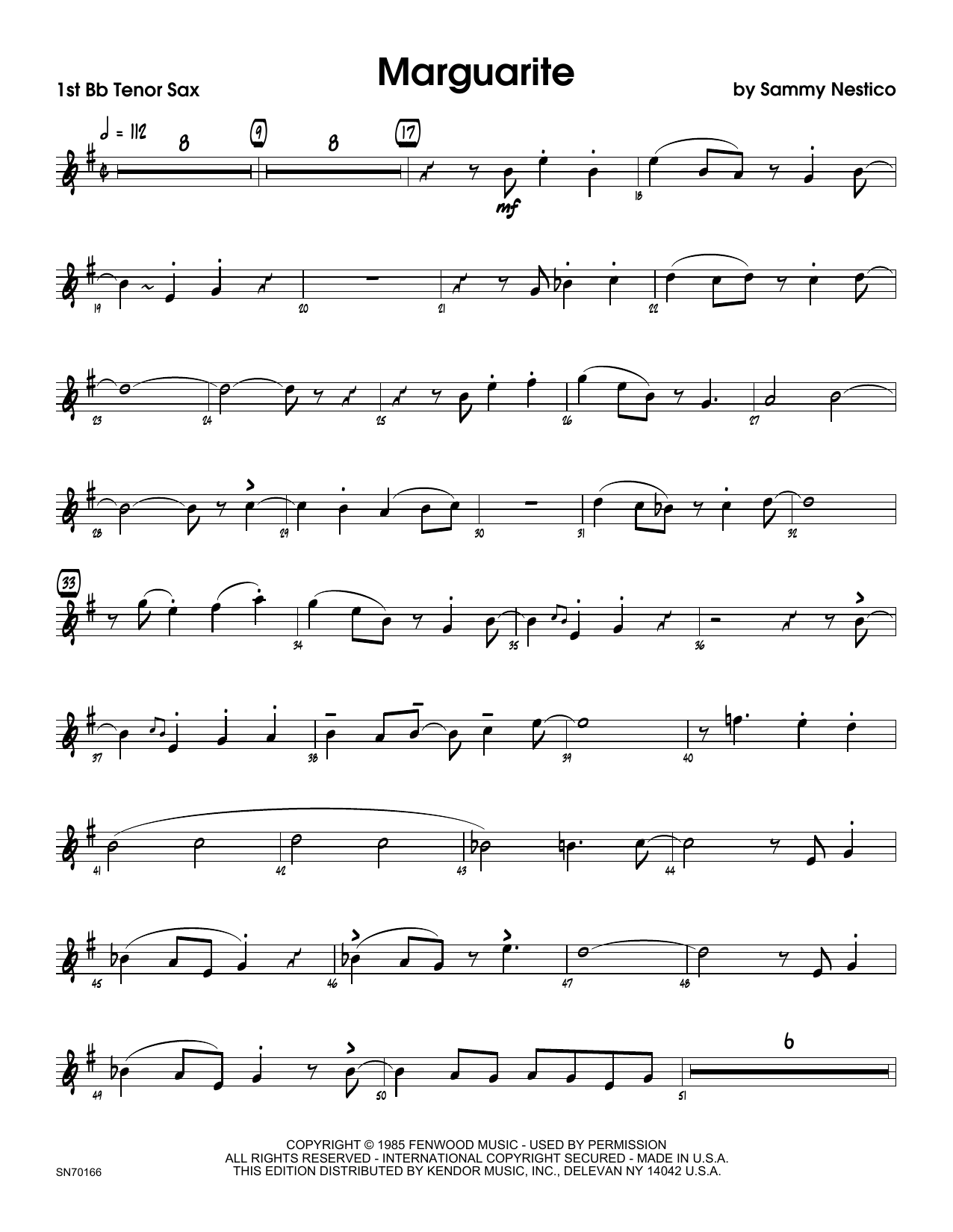 Marguarite - 1st Tenor Saxophone Sheet Music