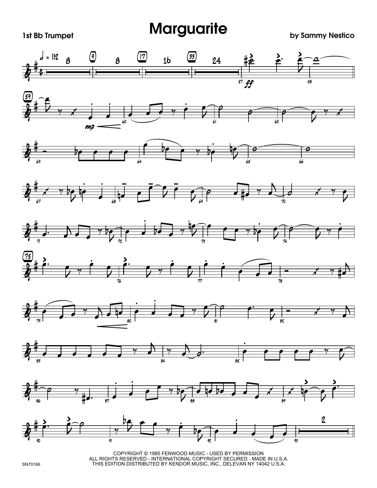 Marguarite - 1st Bb Trumpet Sheet Music