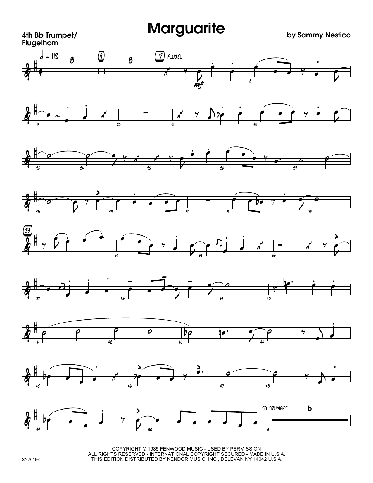 Marguarite - 4th Bb Trumpet Sheet Music