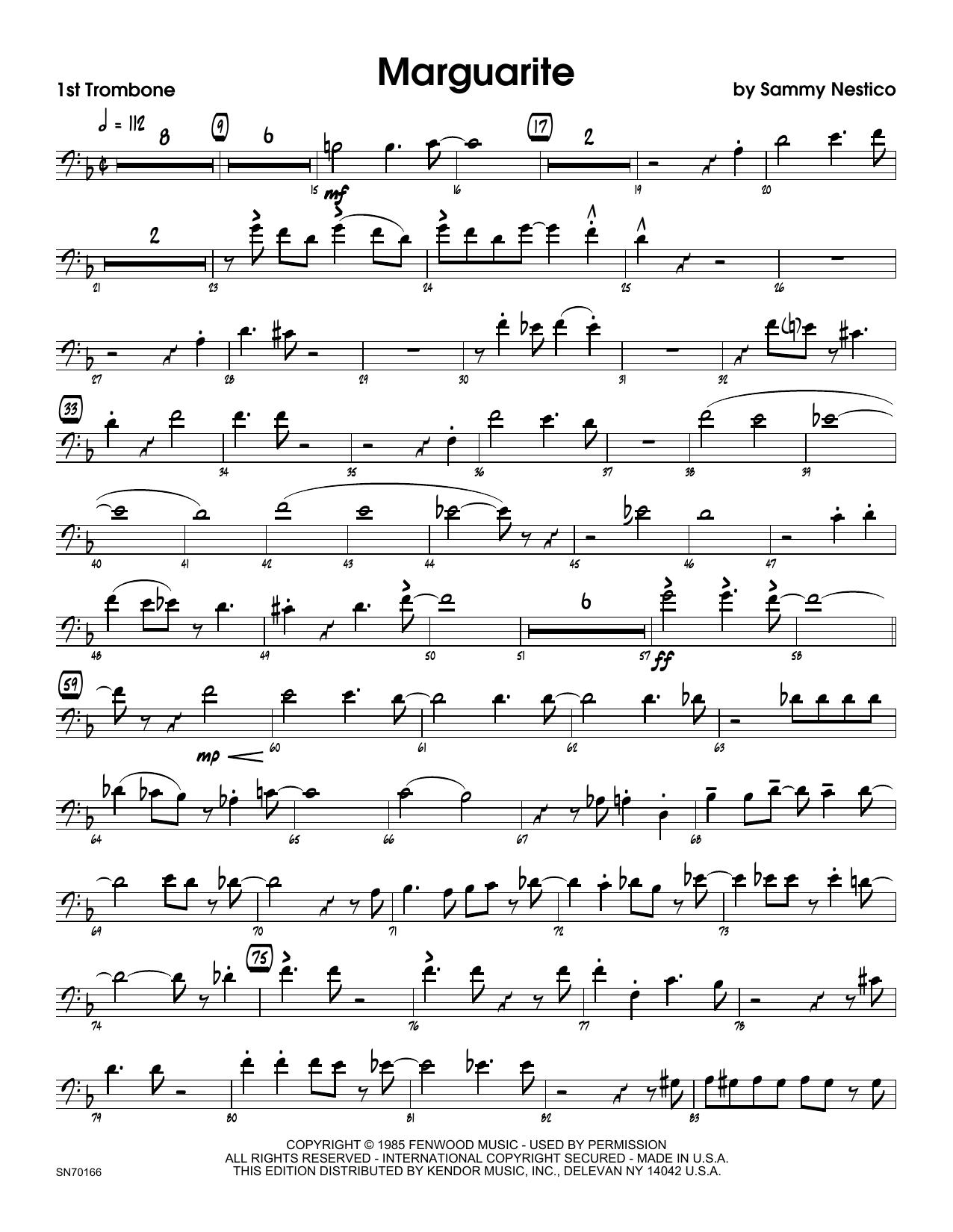 Marguarite - 1st Trombone Sheet Music