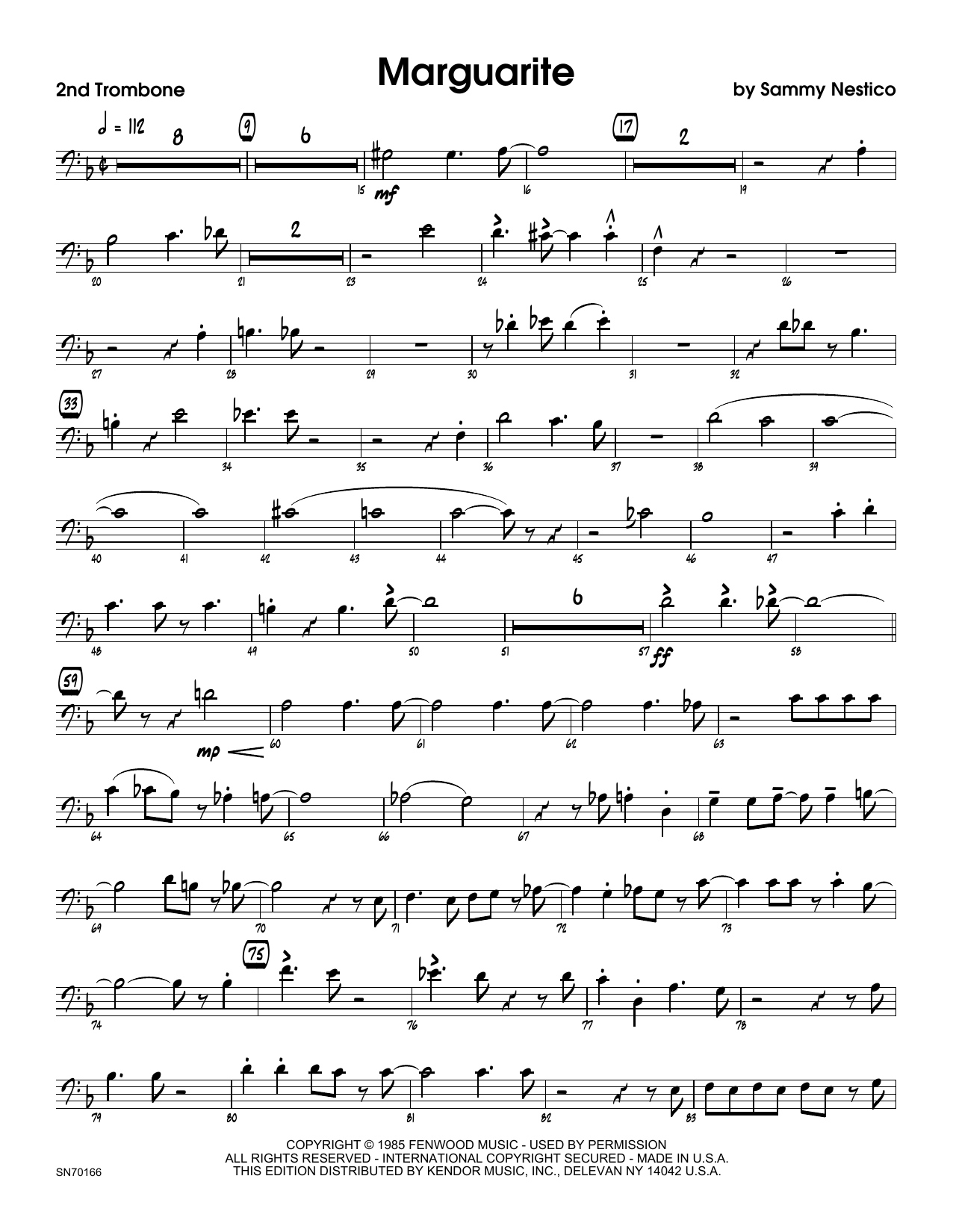 Marguarite - 2nd Trombone Sheet Music