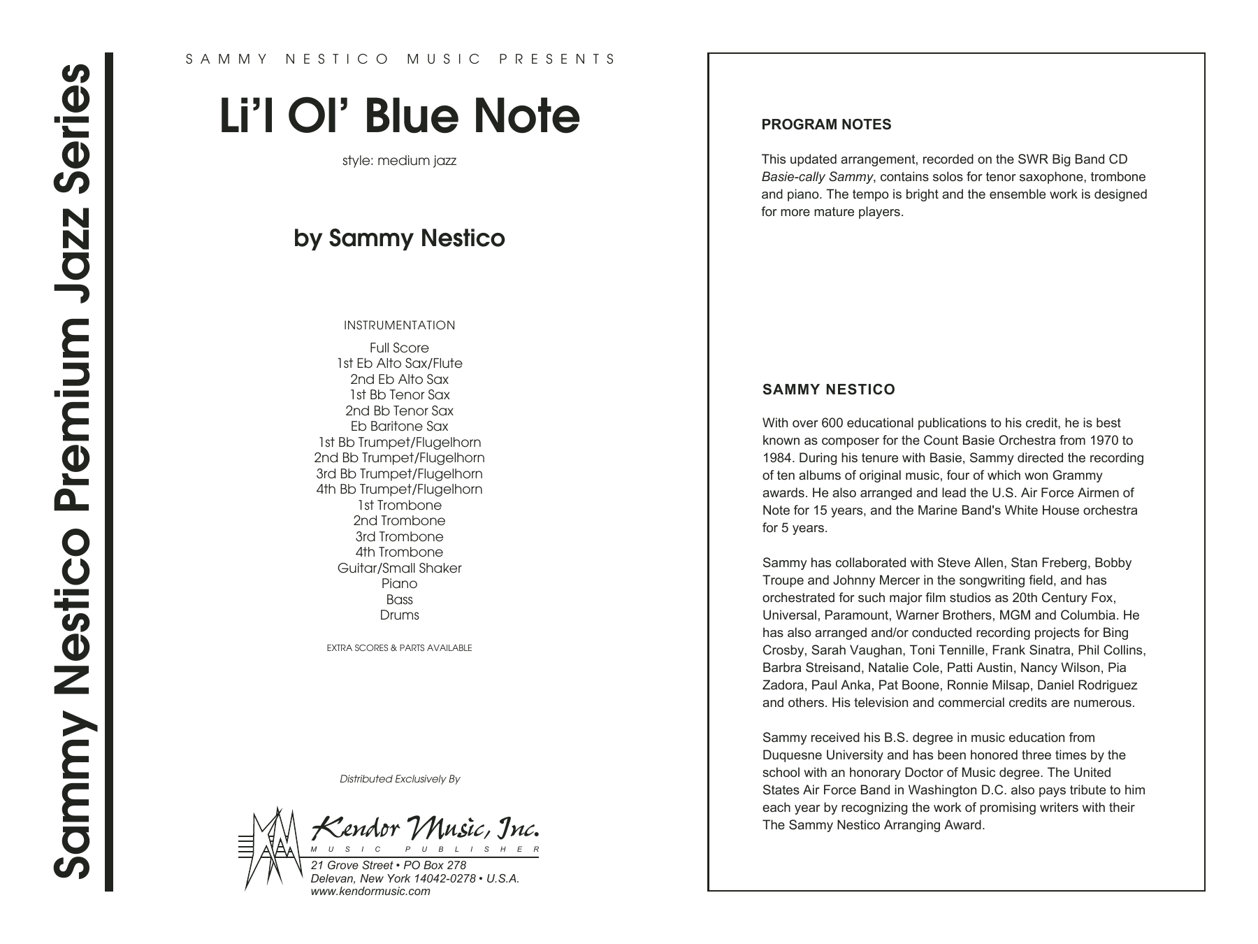 Li'l Ol' Blue Note (COMPLETE) sheet music for jazz band by Sammy Nestico. Score Image Preview.