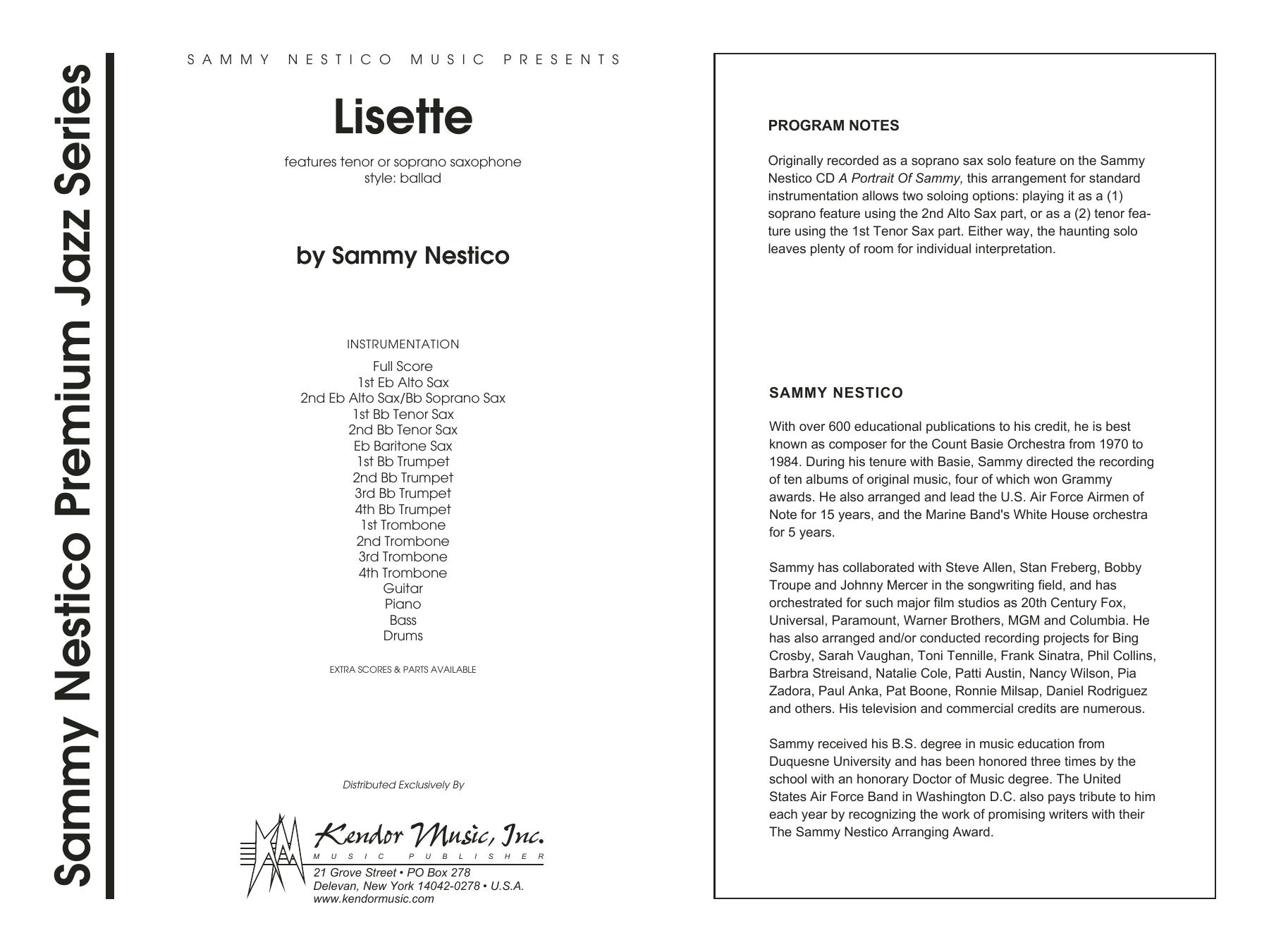 Lisette, complete collection (COMPLETE) sheet music for jazz band by Sammy Nestico. Score Image Preview.