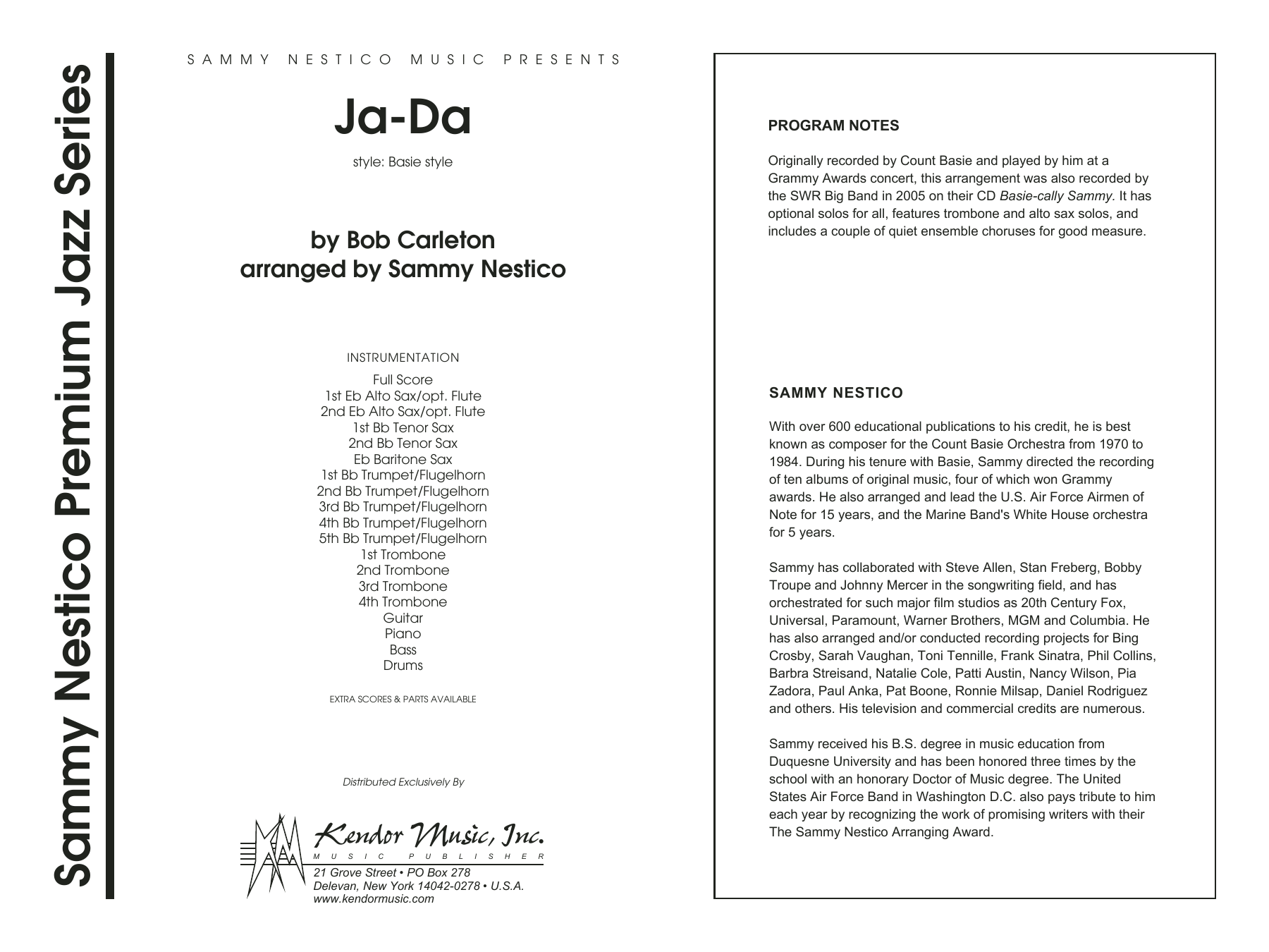 Ja-Da (COMPLETE) sheet music for jazz band by Carleton and Sammy Nestico. Score Image Preview.