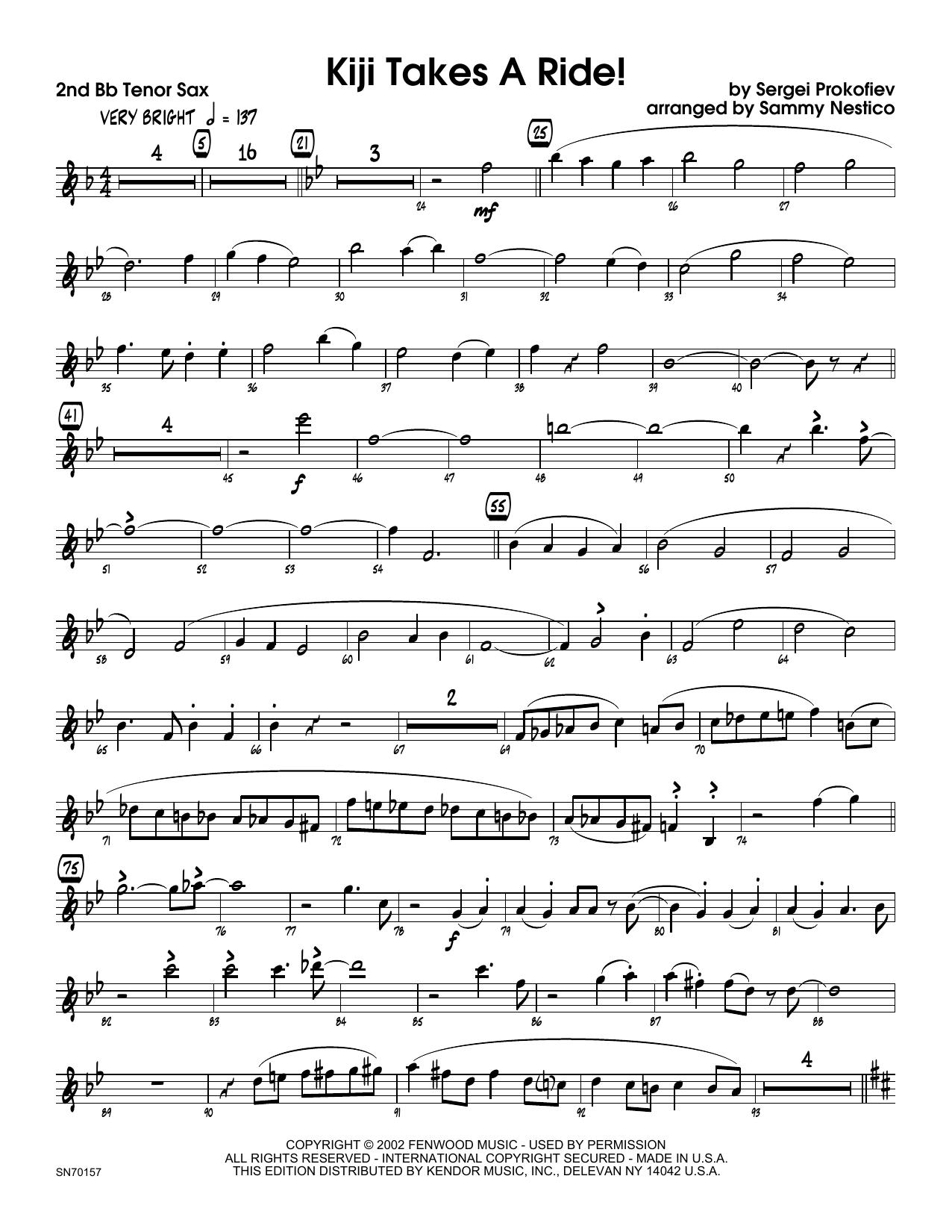 Kiji Takes A Ride! - 2nd Bb Tenor Saxophone Sheet Music
