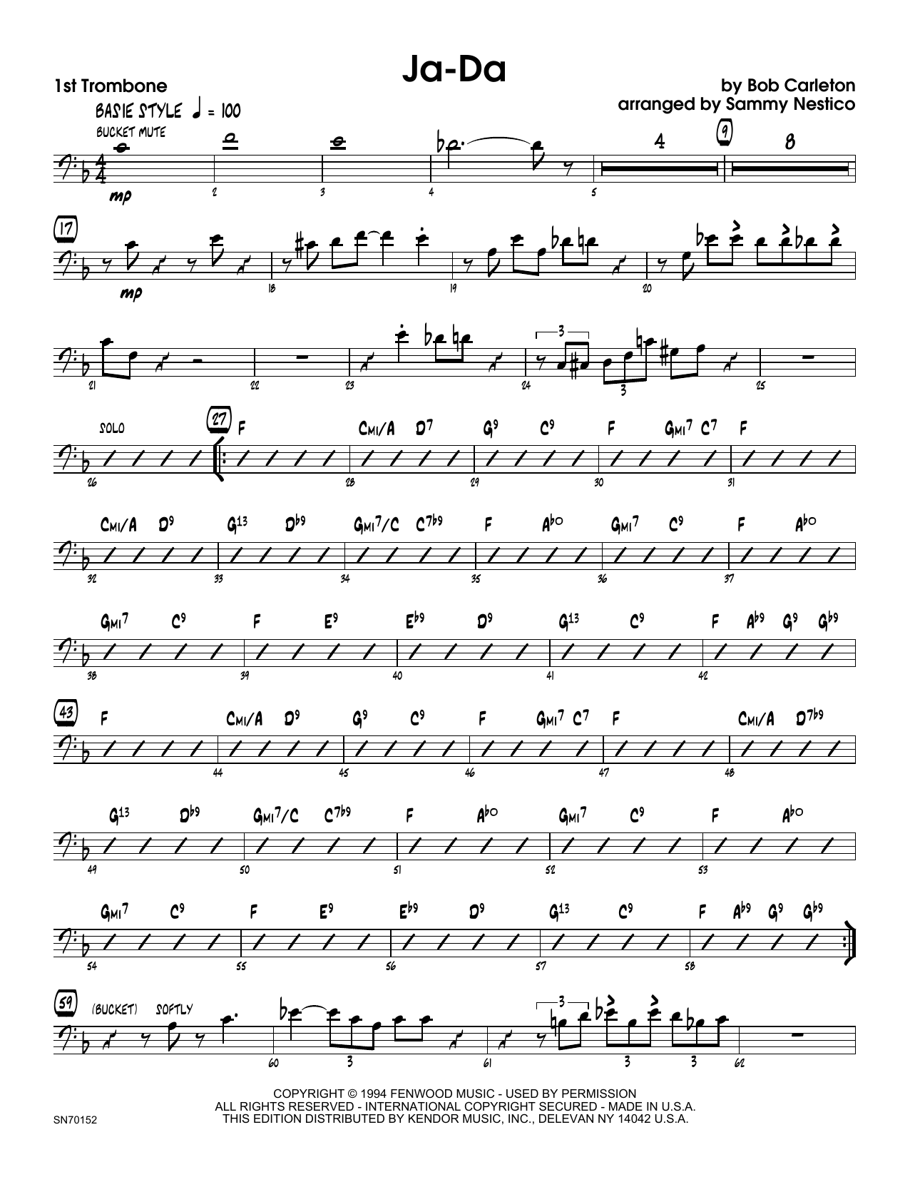 Ja-Da - 1st Trombone Sheet Music