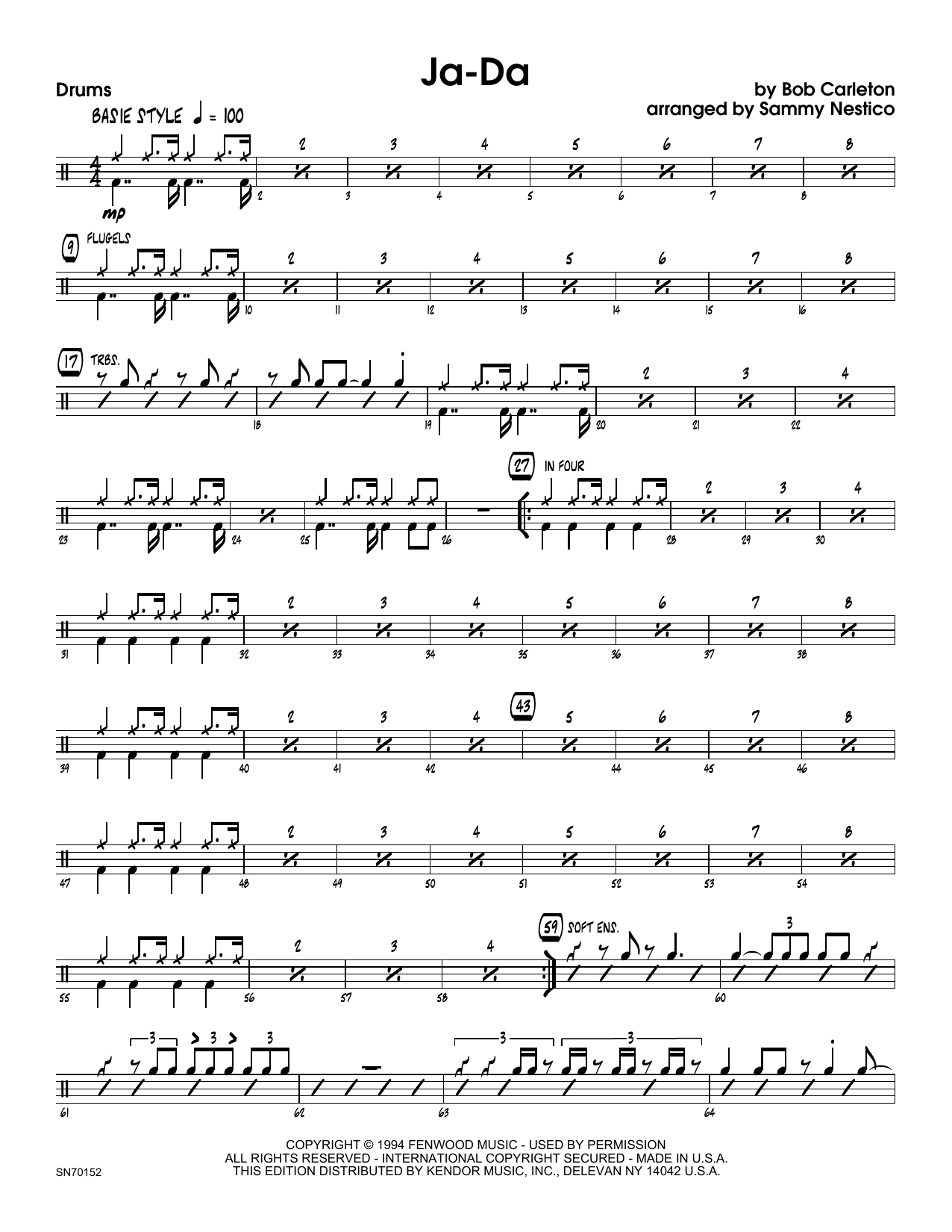Ja-Da - Drum Set Sheet Music