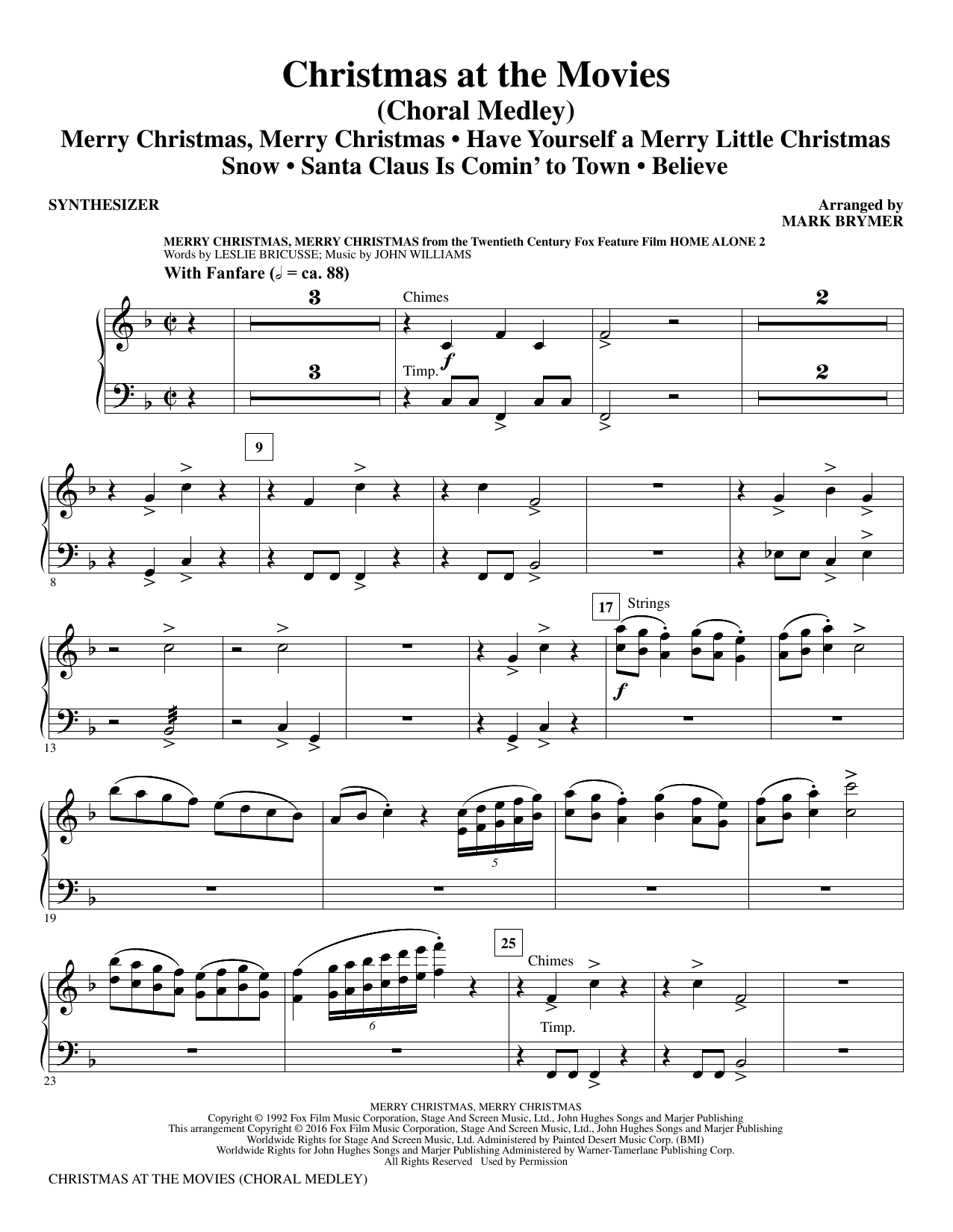 Christmas at the Movies - Synthesizer Sheet Music