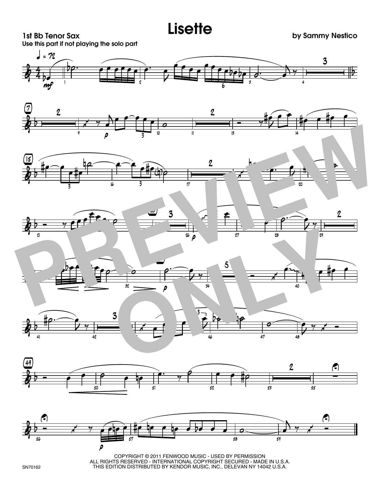 Lisette - 1st Tenor Saxophone Sheet Music