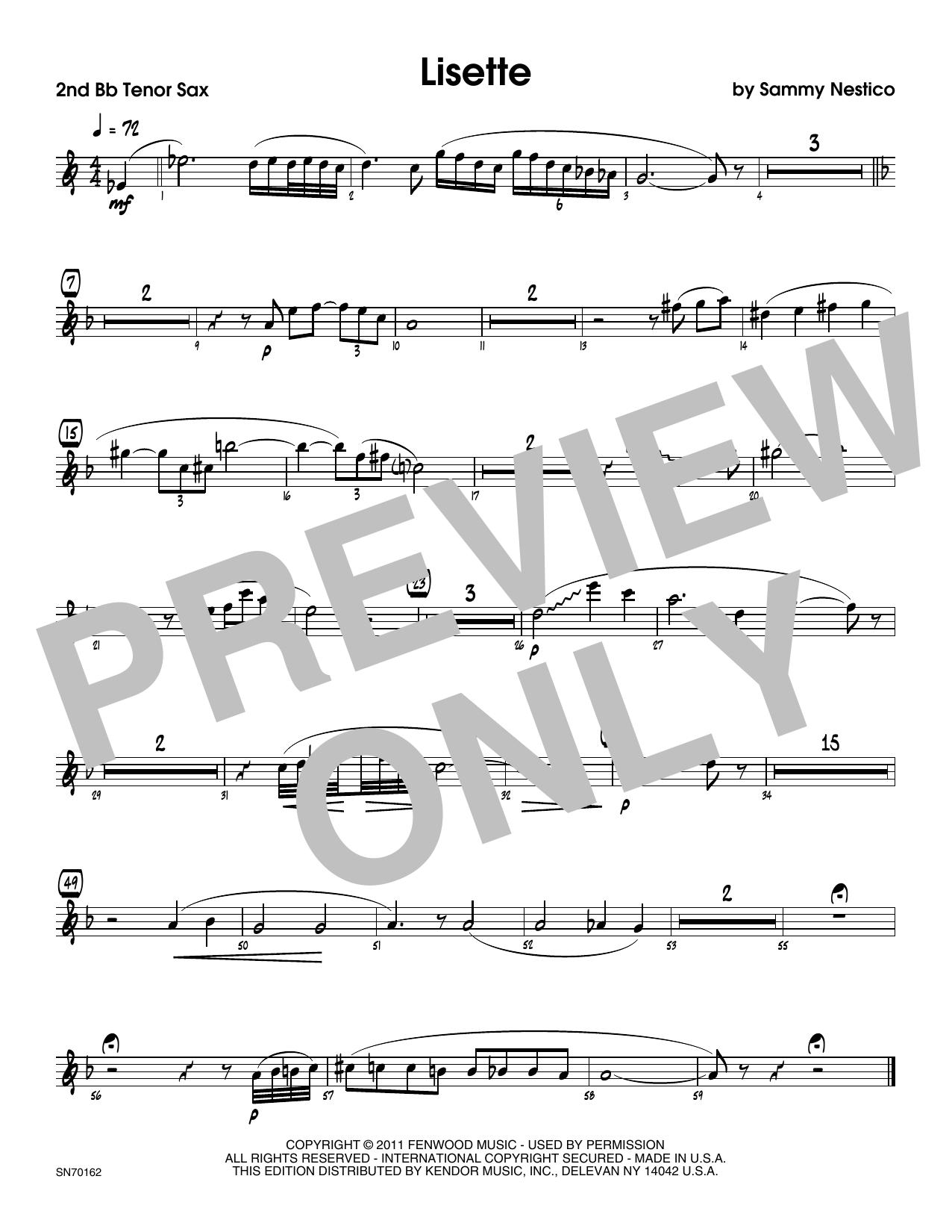 Lisette - 2nd Bb Tenor Saxophone Sheet Music