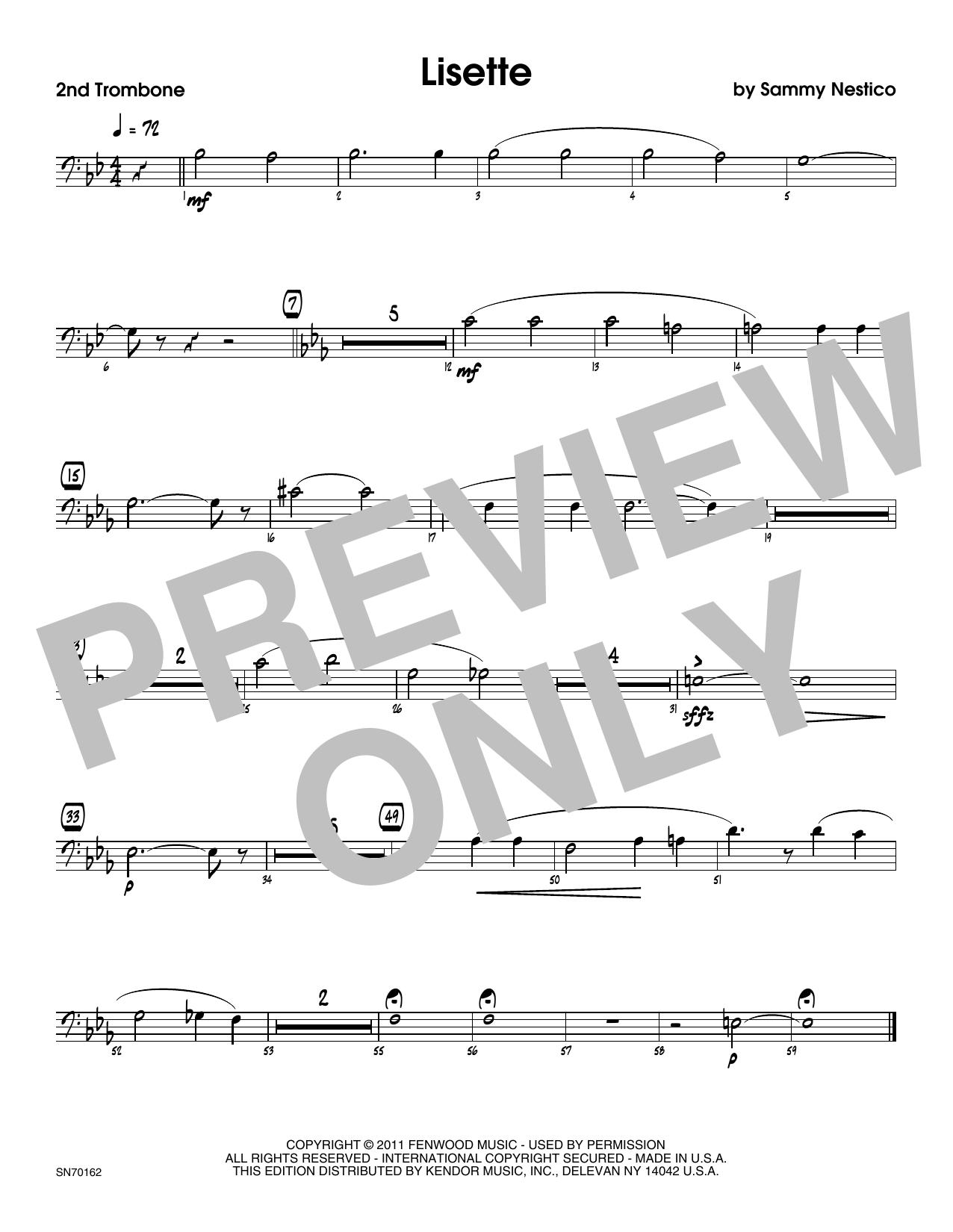 Lisette - 2nd Trombone Sheet Music