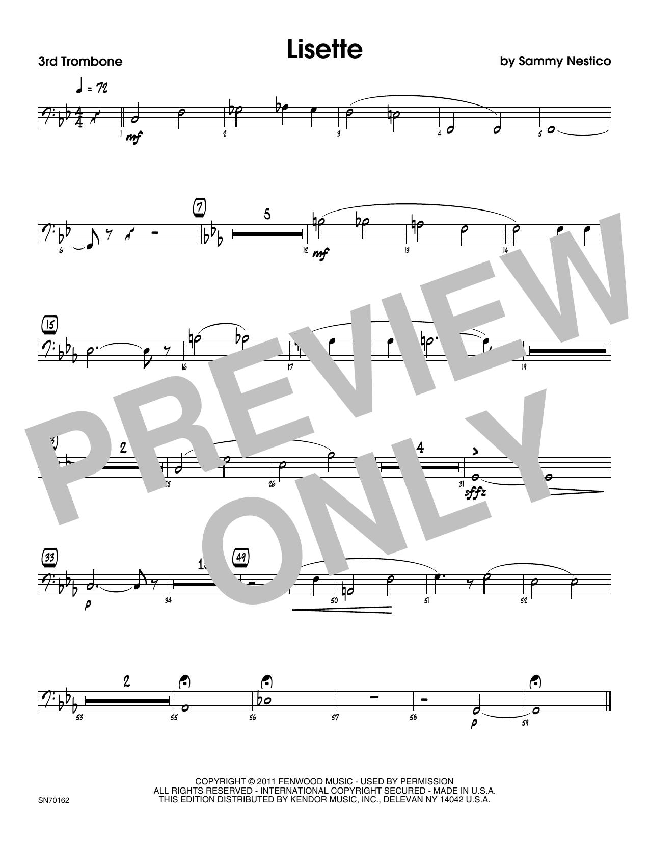 Lisette - 3rd Trombone Sheet Music