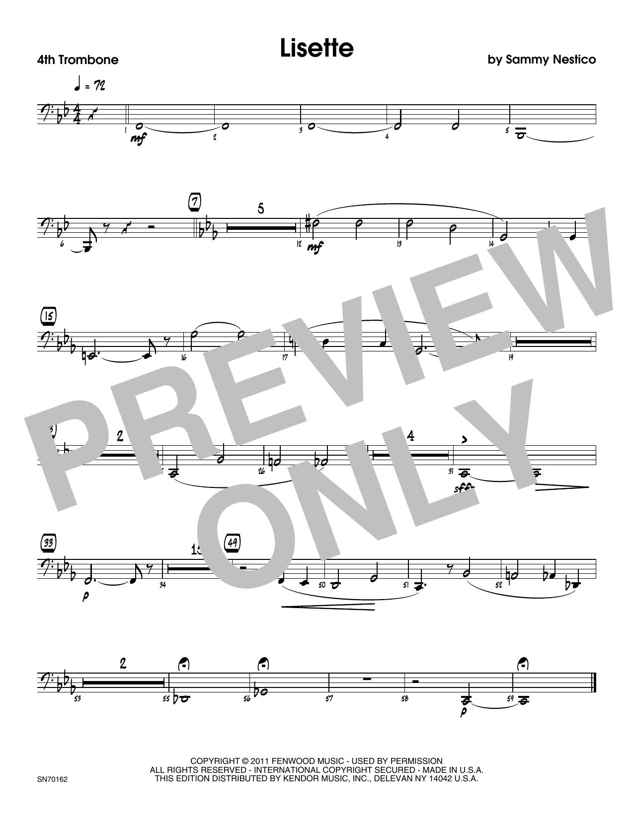 Lisette - 4th Trombone Sheet Music