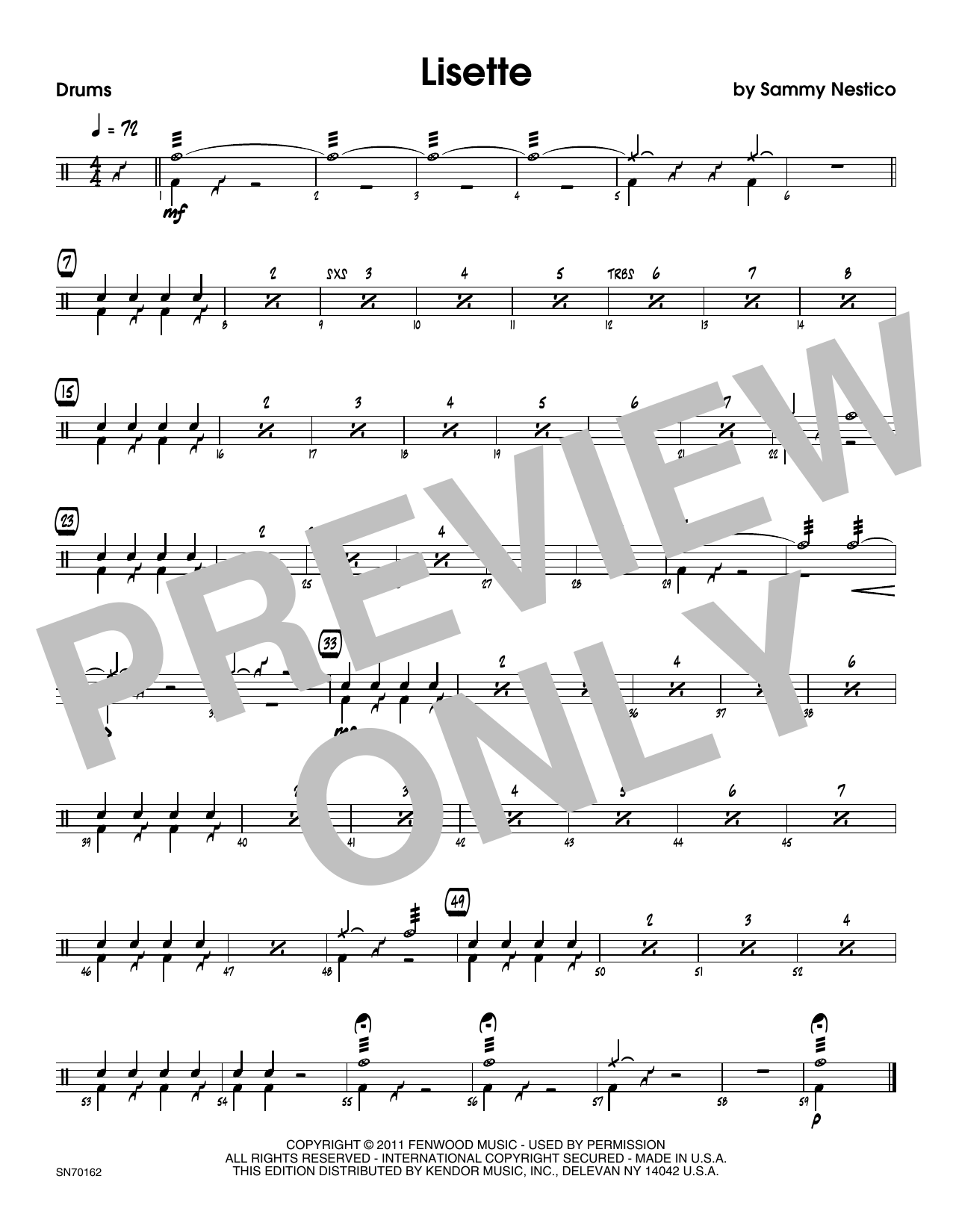 Lisette - Drum Set Sheet Music