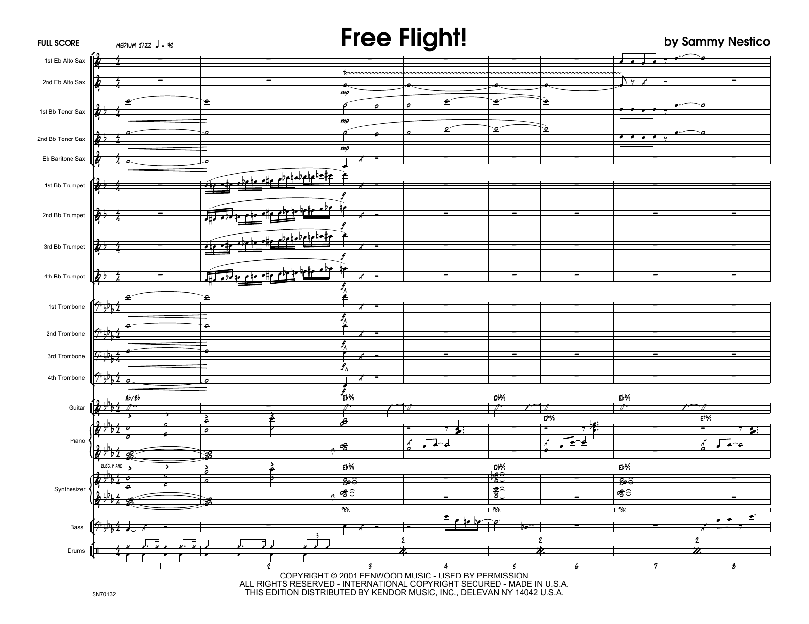 Free Flight! (COMPLETE) sheet music for jazz band by Sammy Nestico. Score Image Preview.
