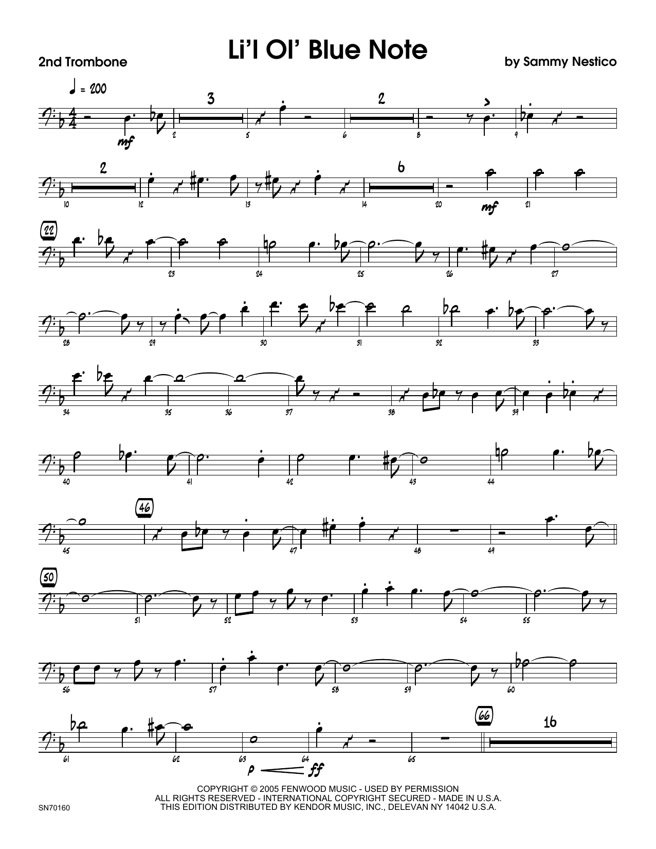 Li'l Ol' Blue Note - 2nd Trombone Sheet Music