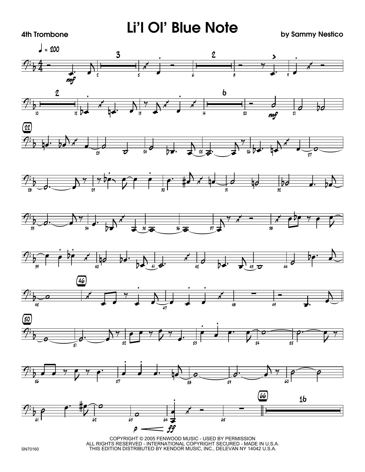 Li'l Ol' Blue Note - 4th Trombone Sheet Music
