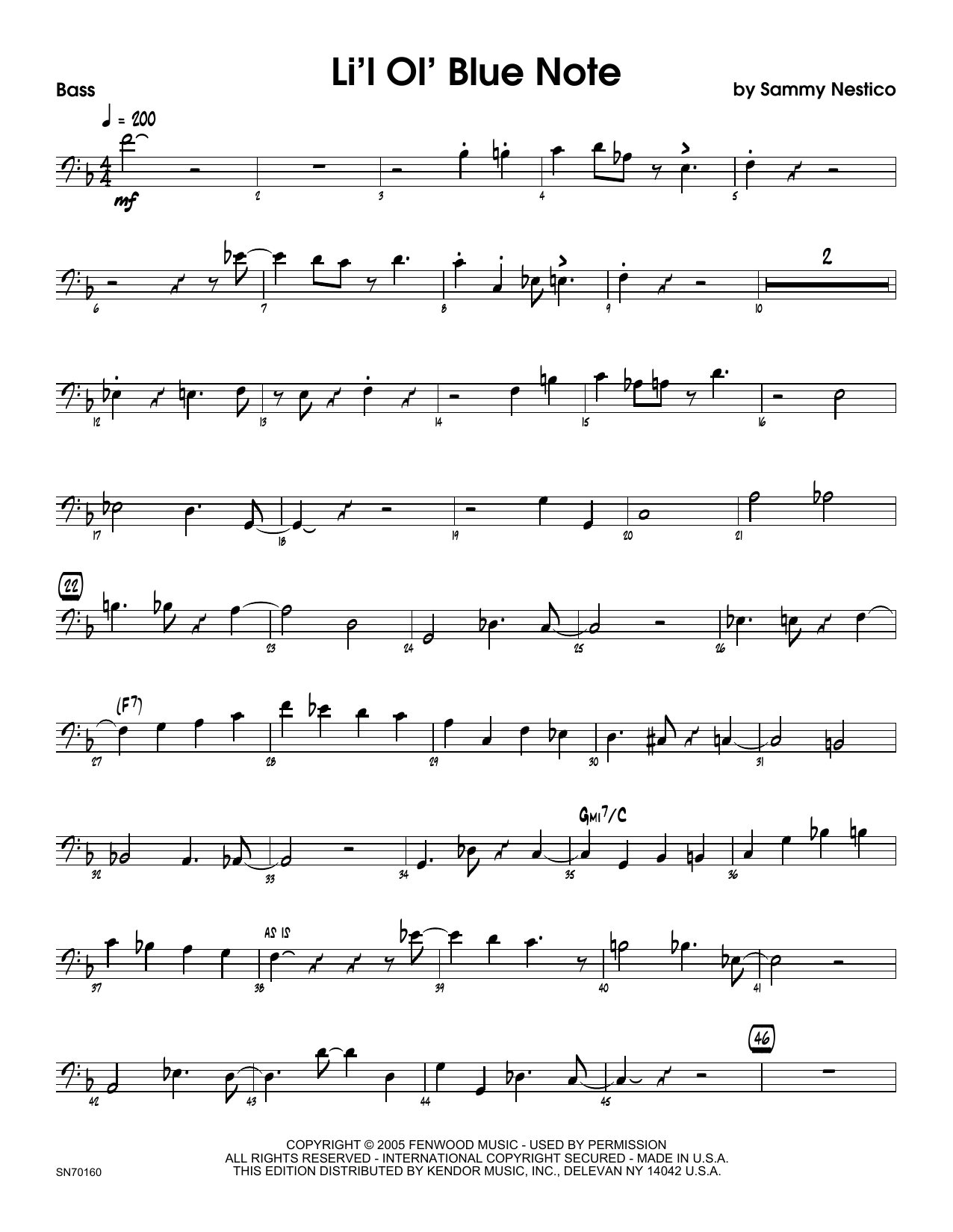 Li'l Ol' Blue Note - Bass Sheet Music
