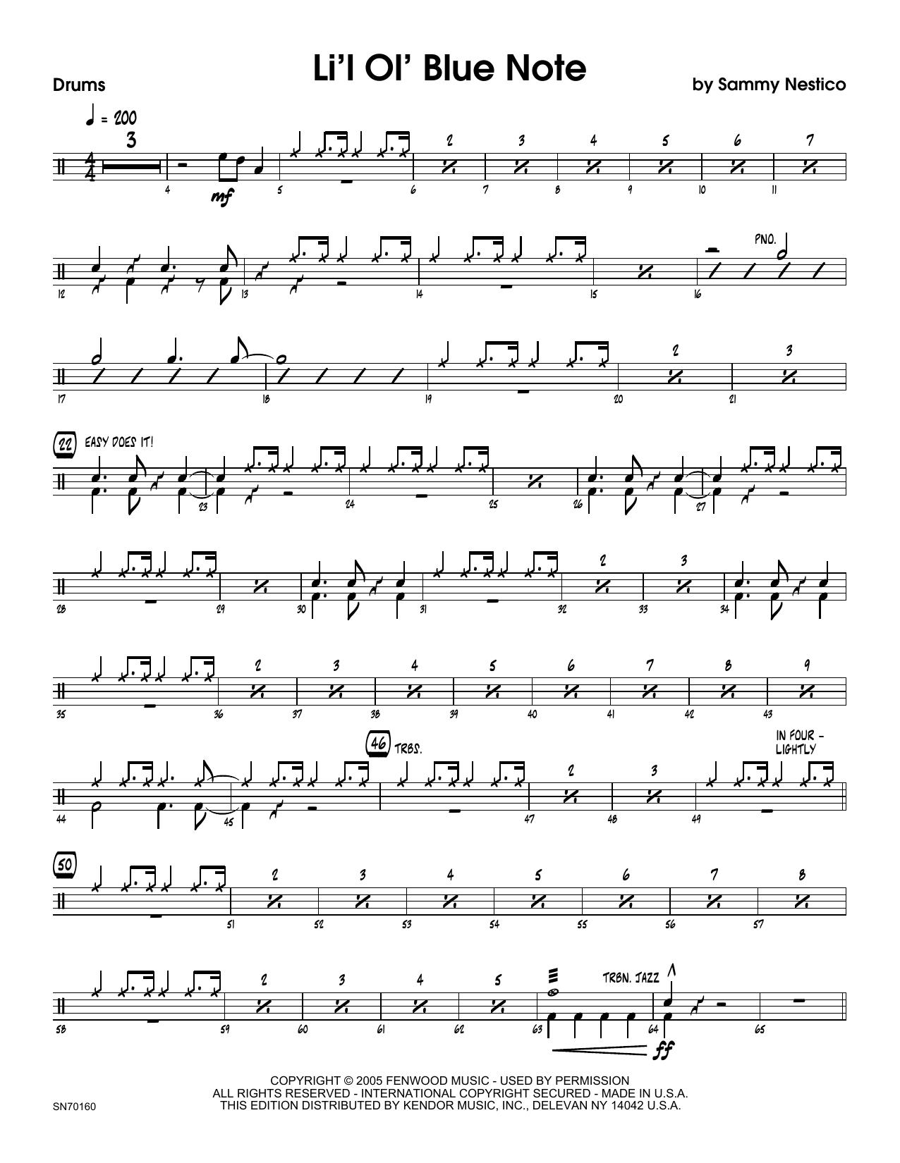 Li'l Ol' Blue Note - Drum Set Sheet Music