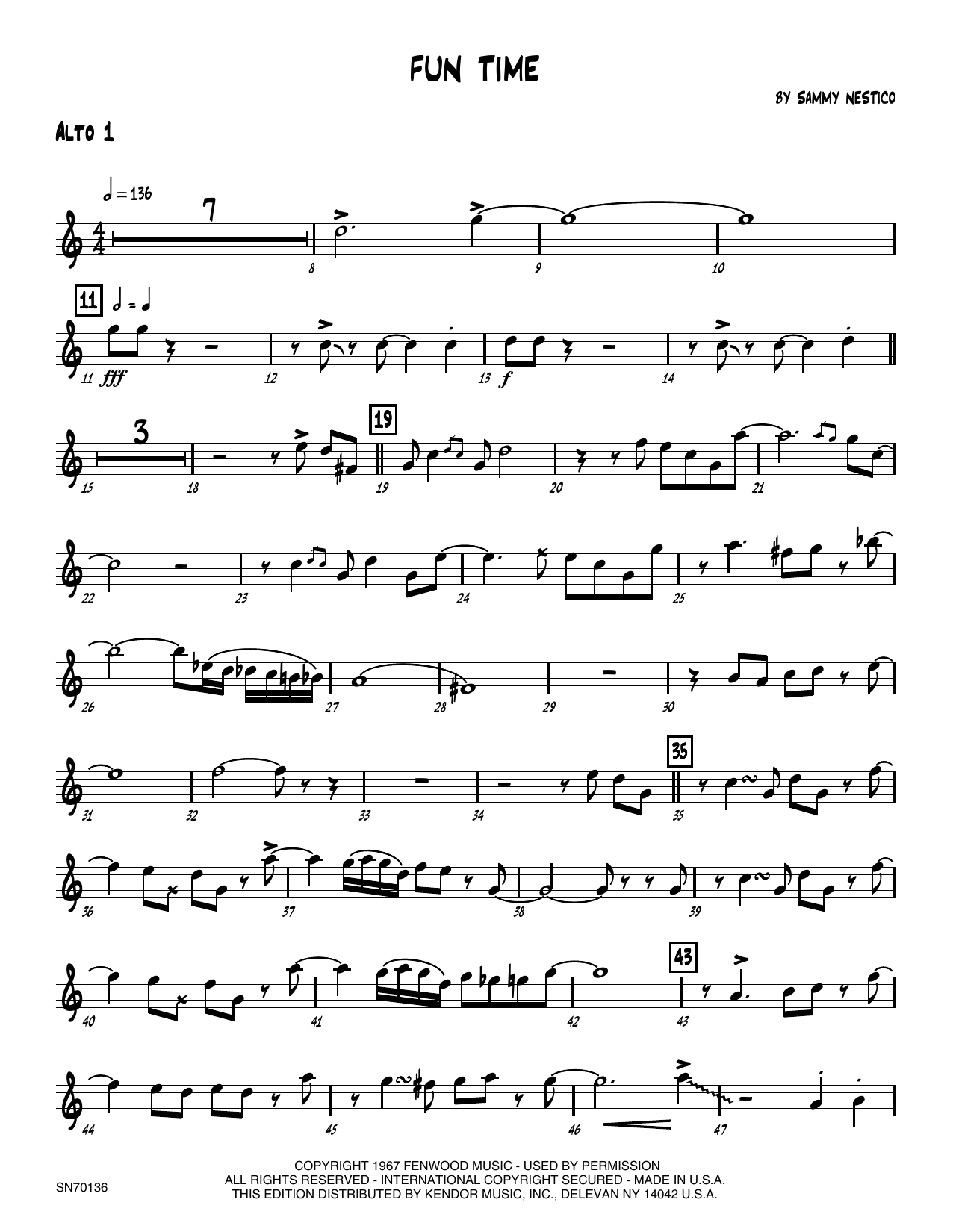 Fun Time - 1st Eb Alto Saxophone Sheet Music