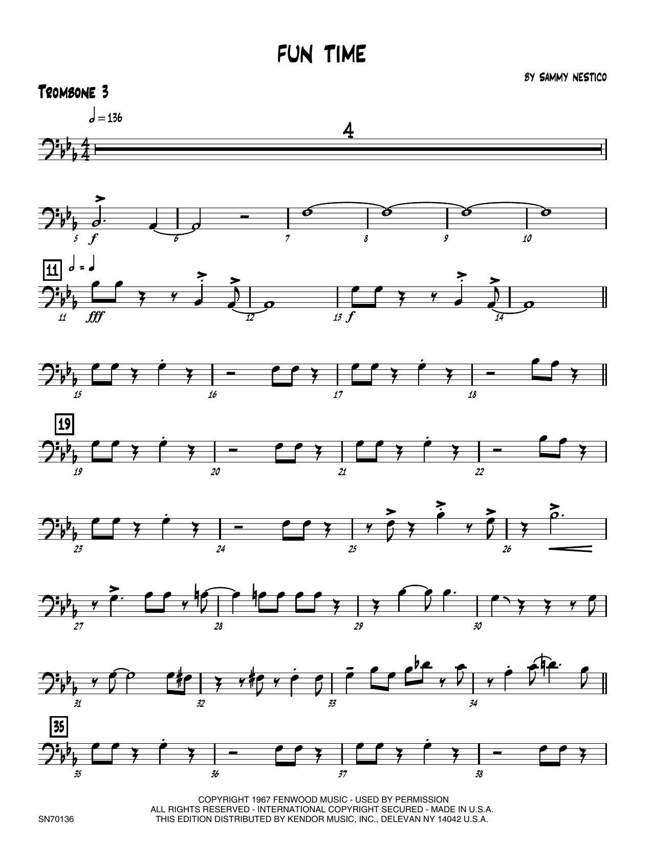 Fun Time - 3rd Trombone Sheet Music