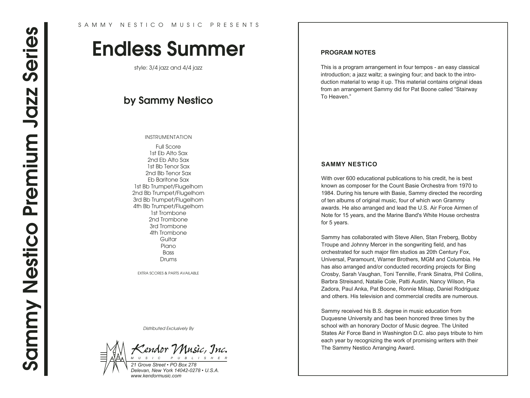 Endless Summer (COMPLETE) sheet music for jazz band by Sammy Nestico. Score Image Preview.