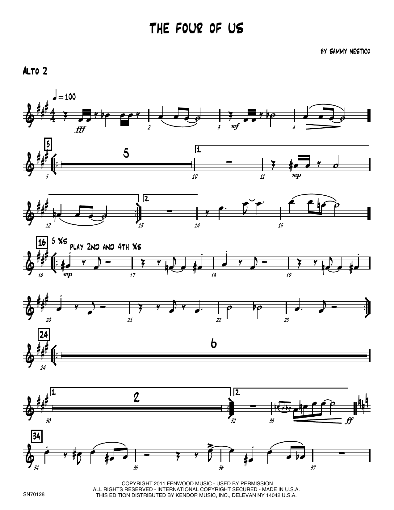 The Four Of Us - 2nd Eb Alto Saxophone Sheet Music