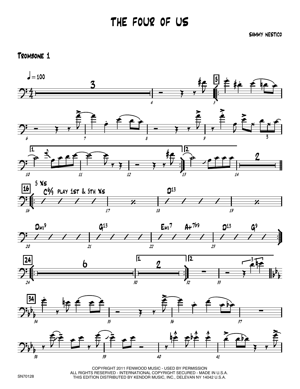 The Four Of Us - 1st Trombone Sheet Music