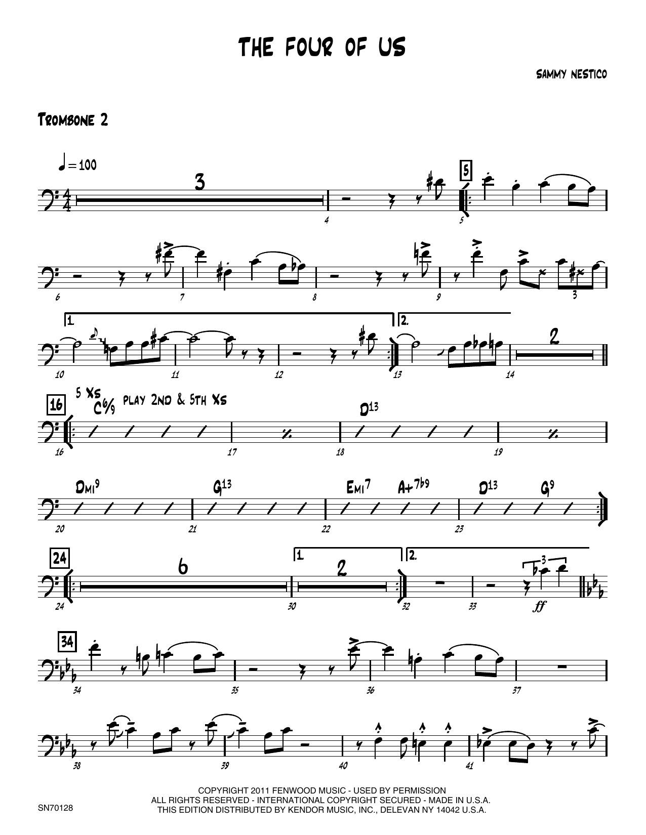 The Four Of Us - 2nd Trombone Sheet Music