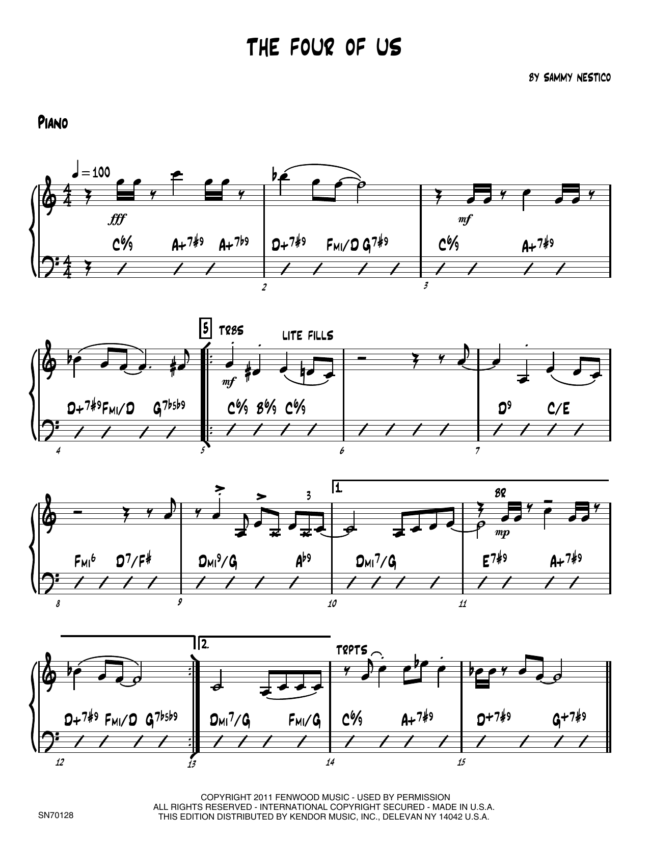 The Four Of Us - Piano Sheet Music