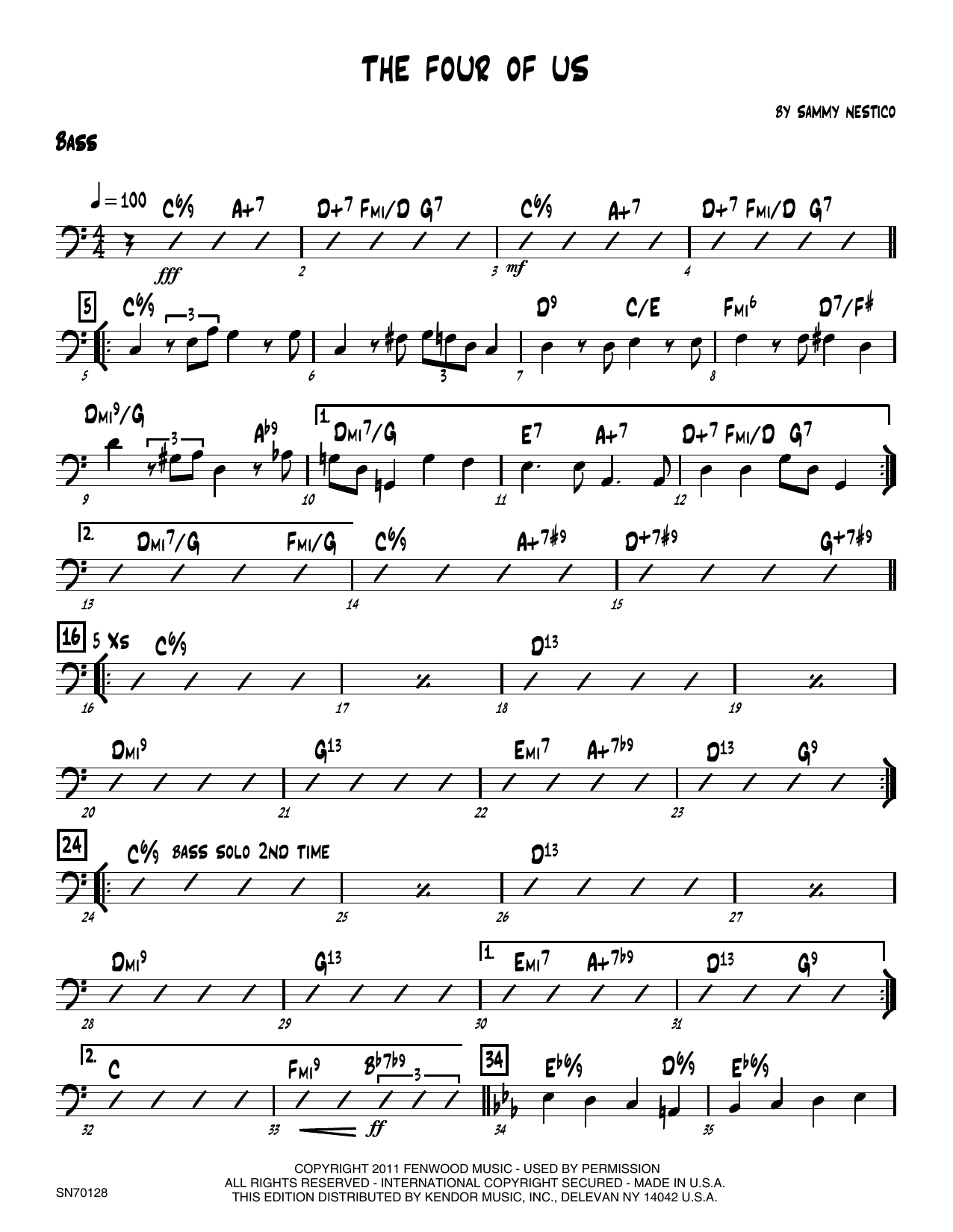 The Four Of Us - Bass Sheet Music