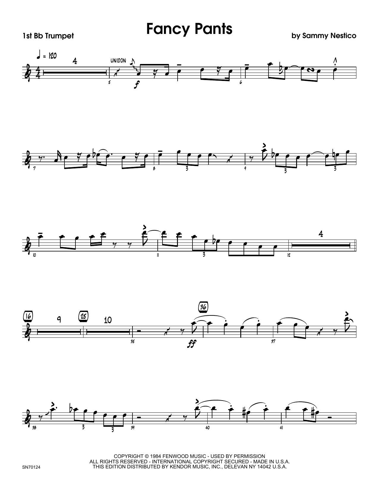 Fancy Pants - 1st Bb Trumpet Sheet Music