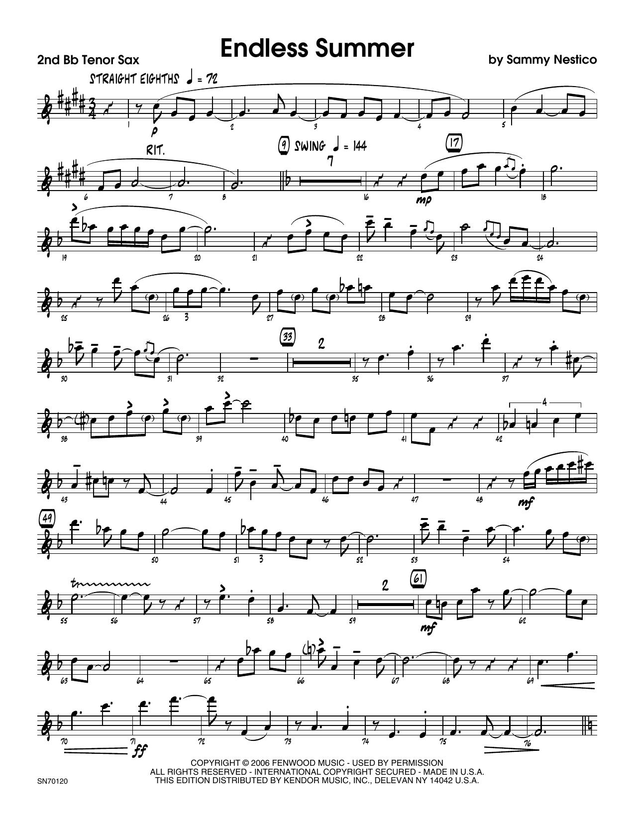 Endless Summer - 2nd Bb Tenor Saxophone Sheet Music