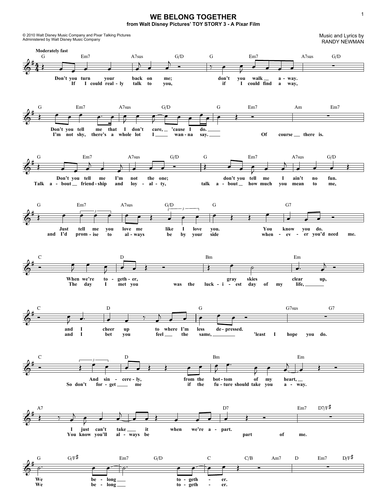We Belong Together (from Toy Story 3) (Lead Sheet / Fake Book)