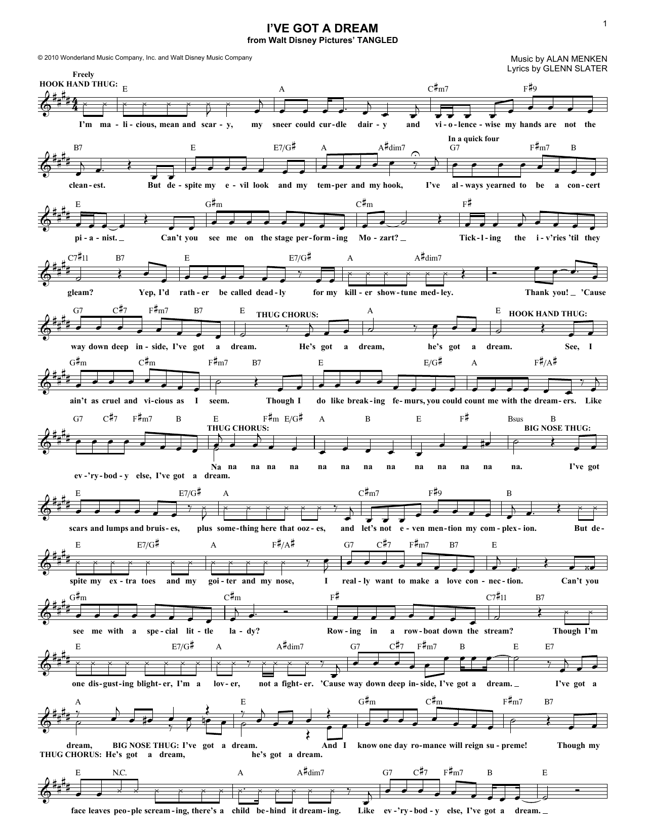 I've Got A Dream (from Disney's Tangled) (Lead Sheet / Fake Book)