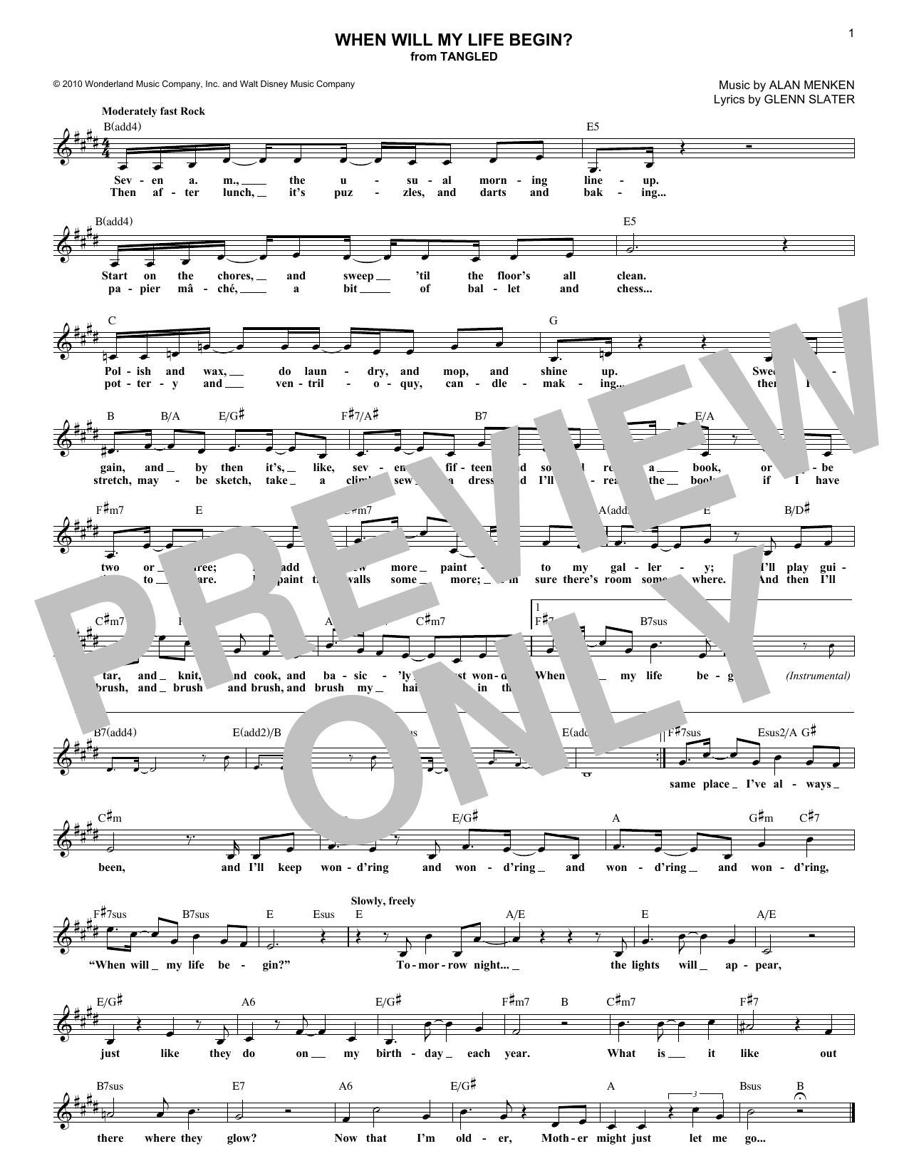 When Will My Life Begin? (from Disney's Tangled) (Lead Sheet / Fake Book)