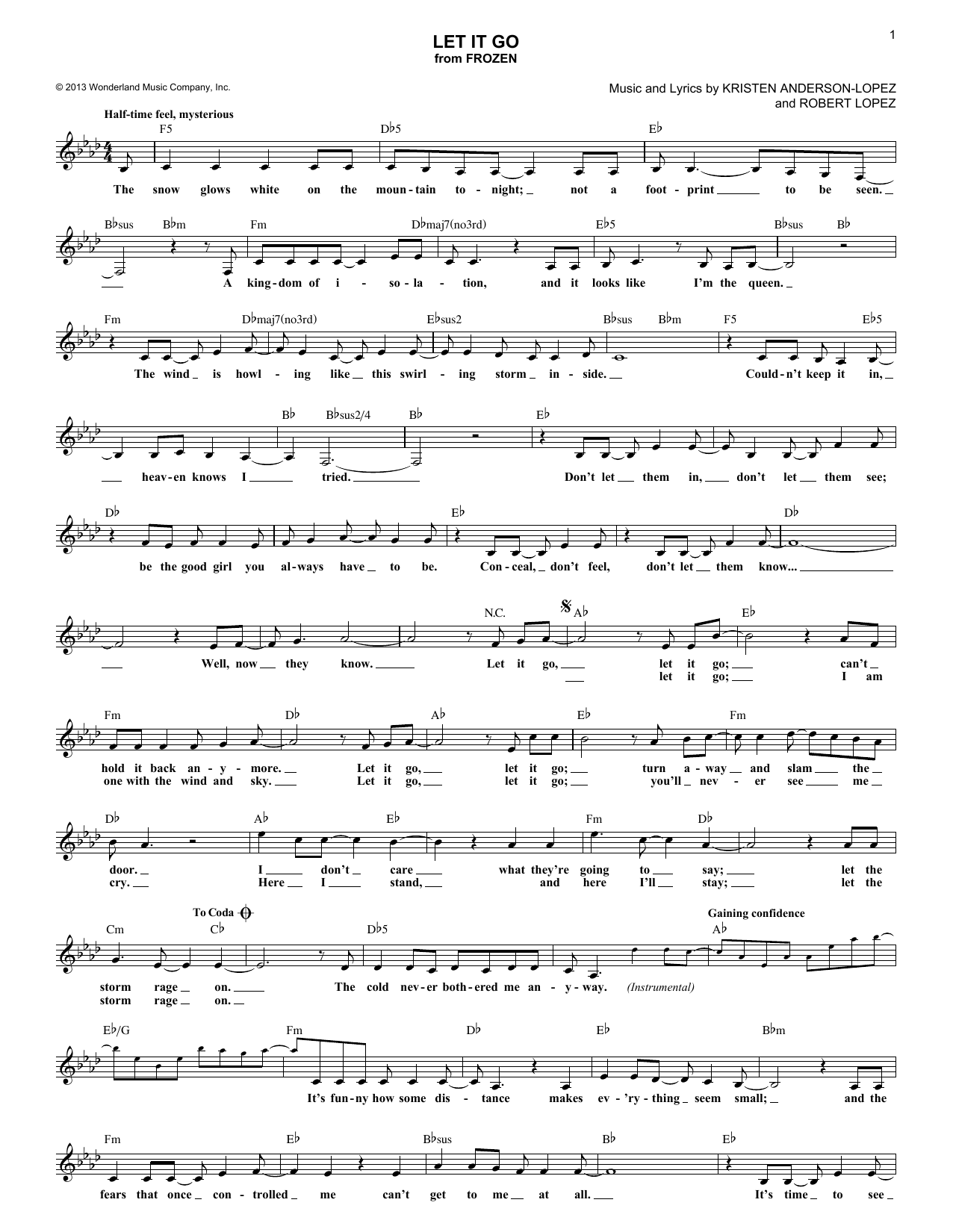 Let It Go (Lead Sheet / Fake Book)