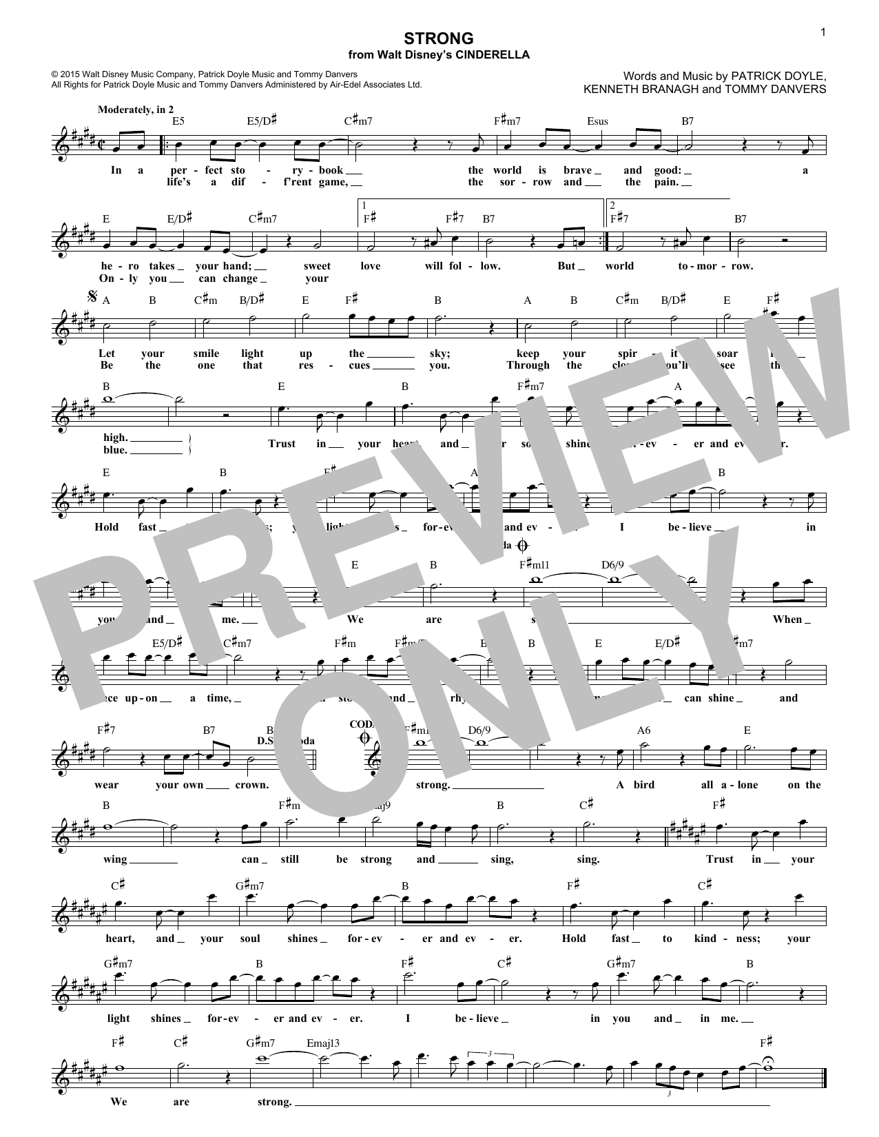 Strong (from the Motion Picture Cinderella) (Lead Sheet / Fake Book)