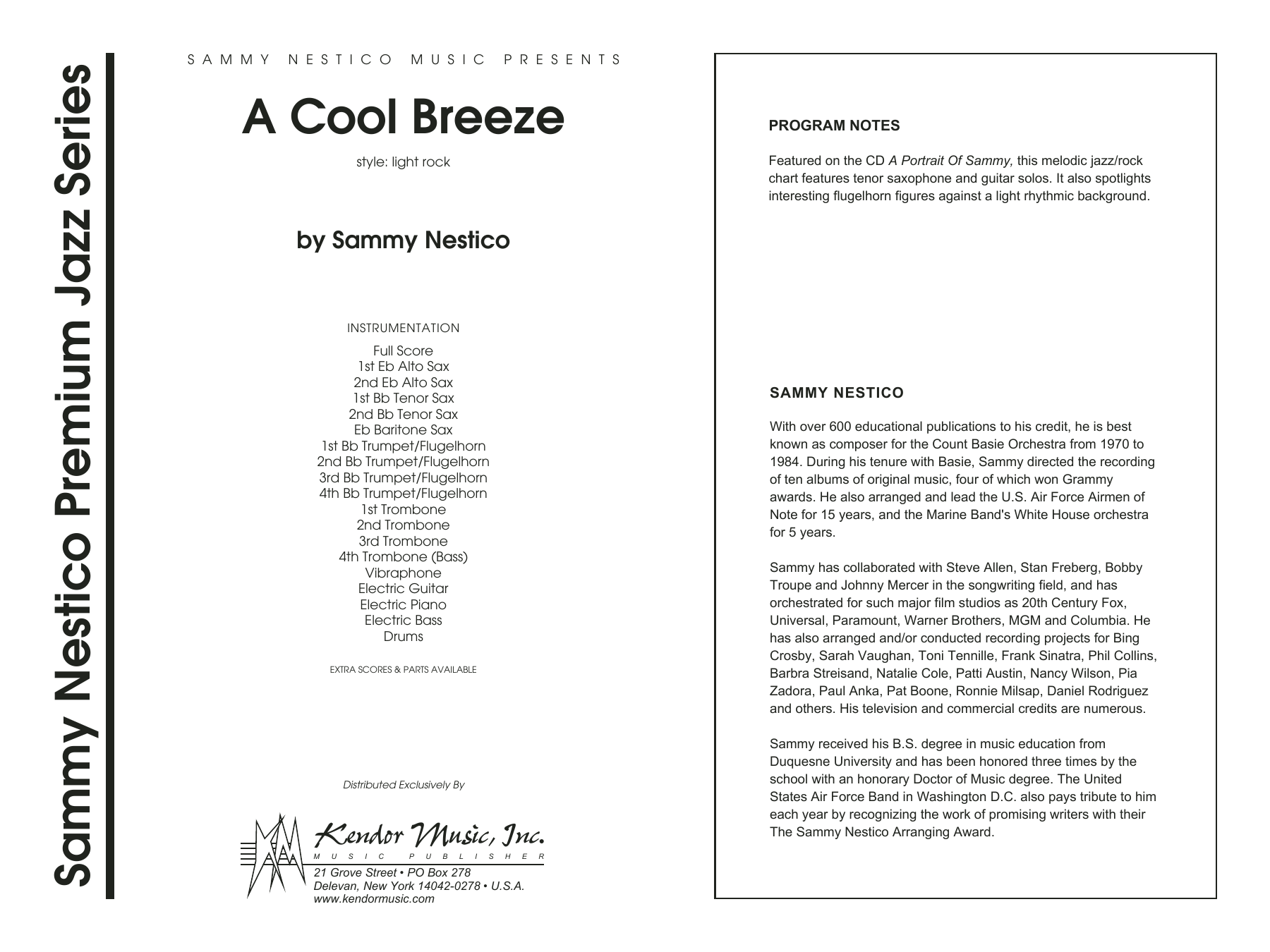 A Cool Breeze (COMPLETE) sheet music for jazz band by Sammy Nestico. Score Image Preview.