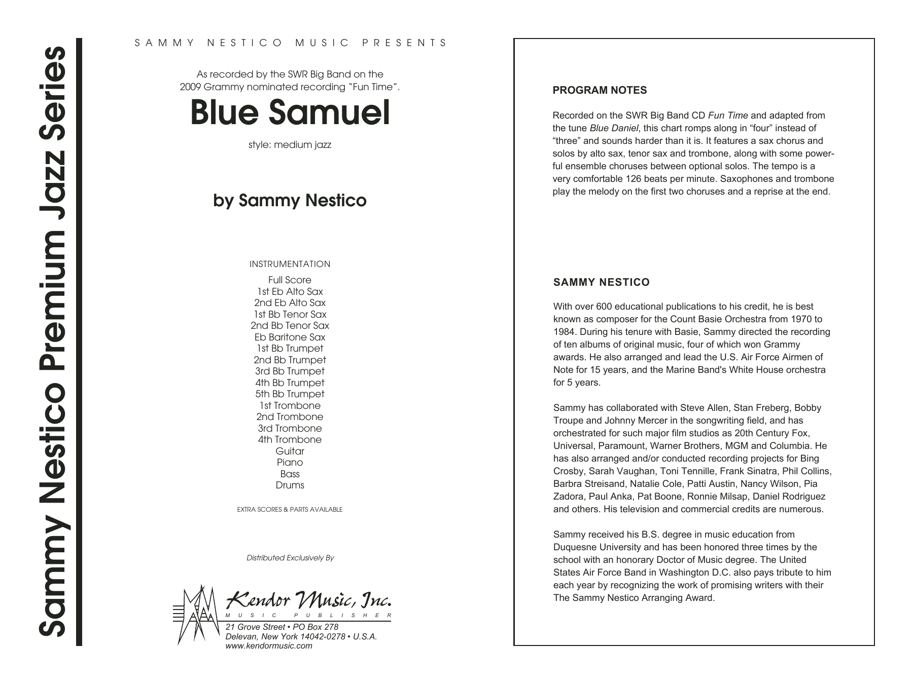 Blue Samuel (COMPLETE) sheet music for jazz band by Sammy Nestico. Score Image Preview.