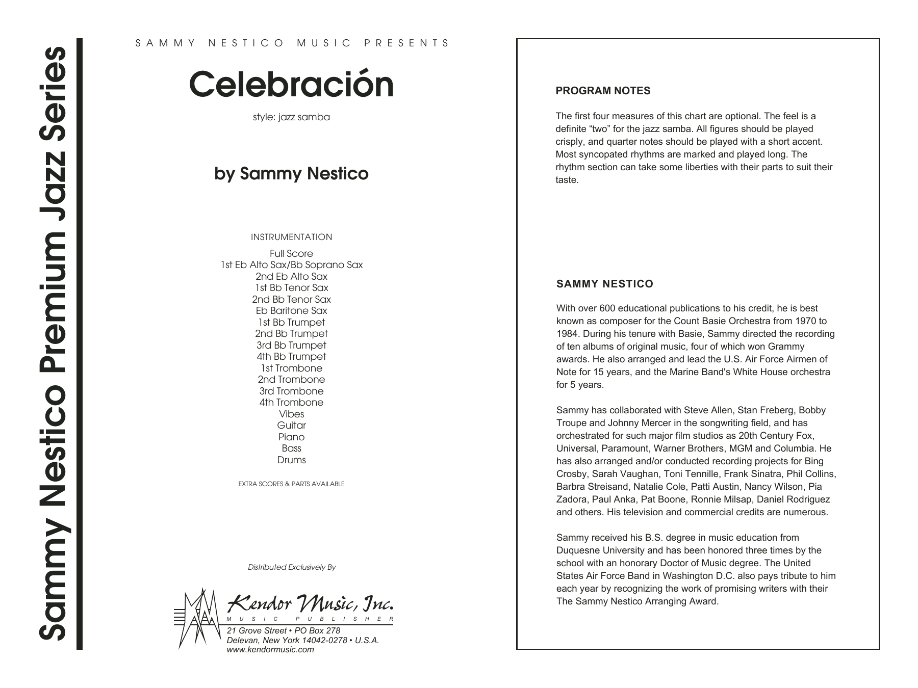 Celebracion (COMPLETE) sheet music for jazz band by Sammy Nestico. Score Image Preview.