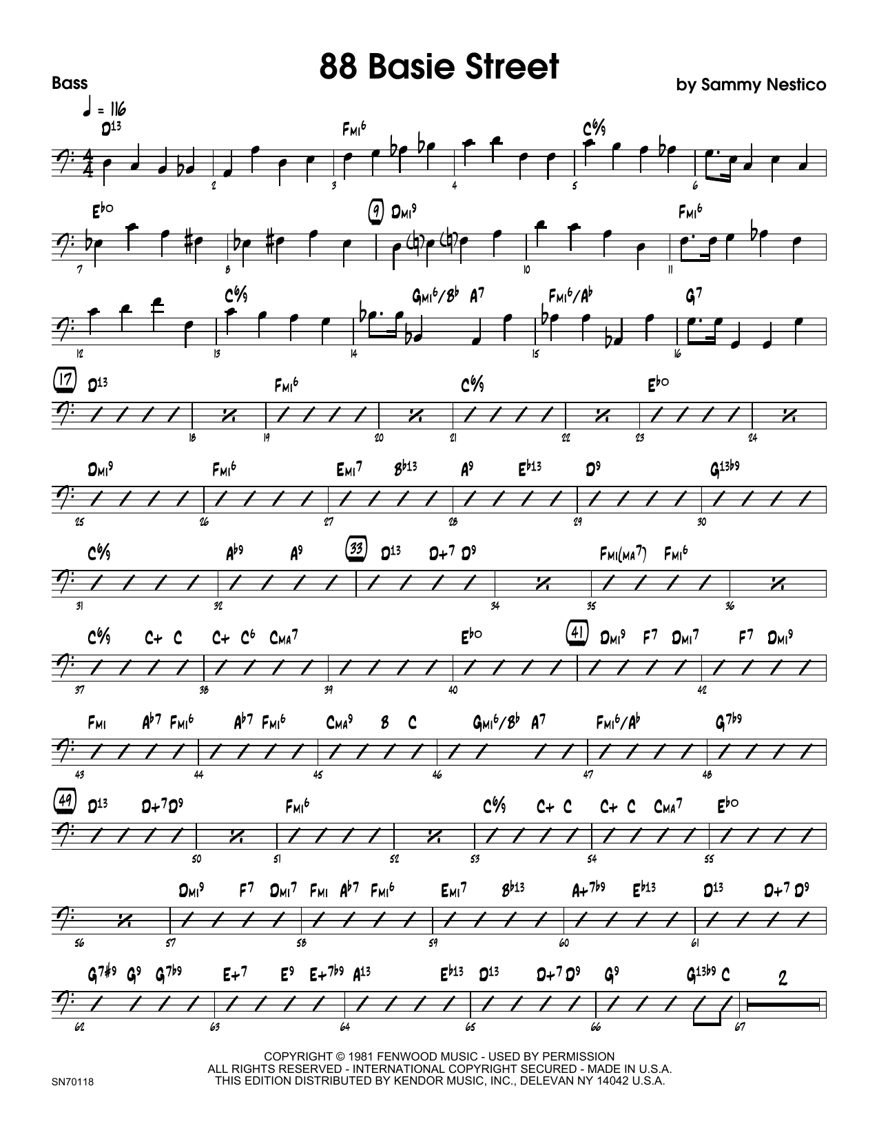 88 Basie Street - Bass Sheet Music