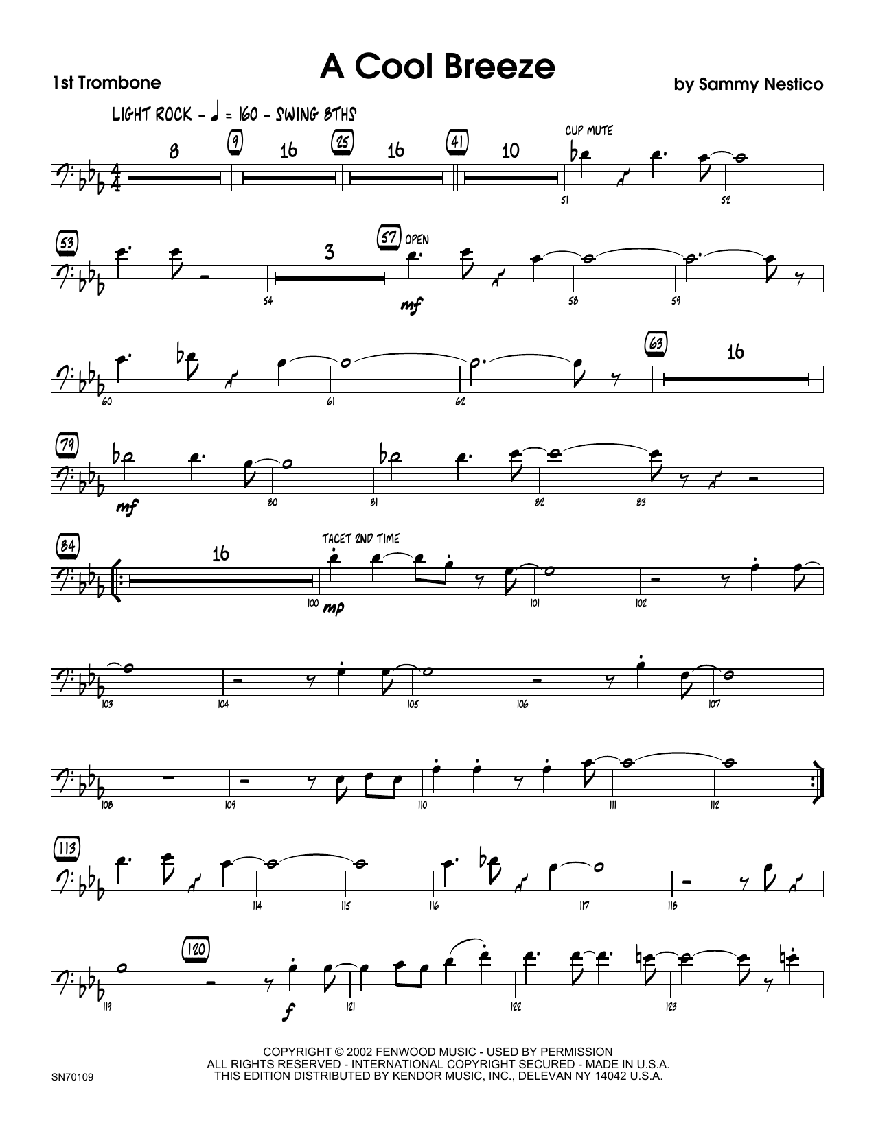 A Cool Breeze - 1st Trombone Sheet Music