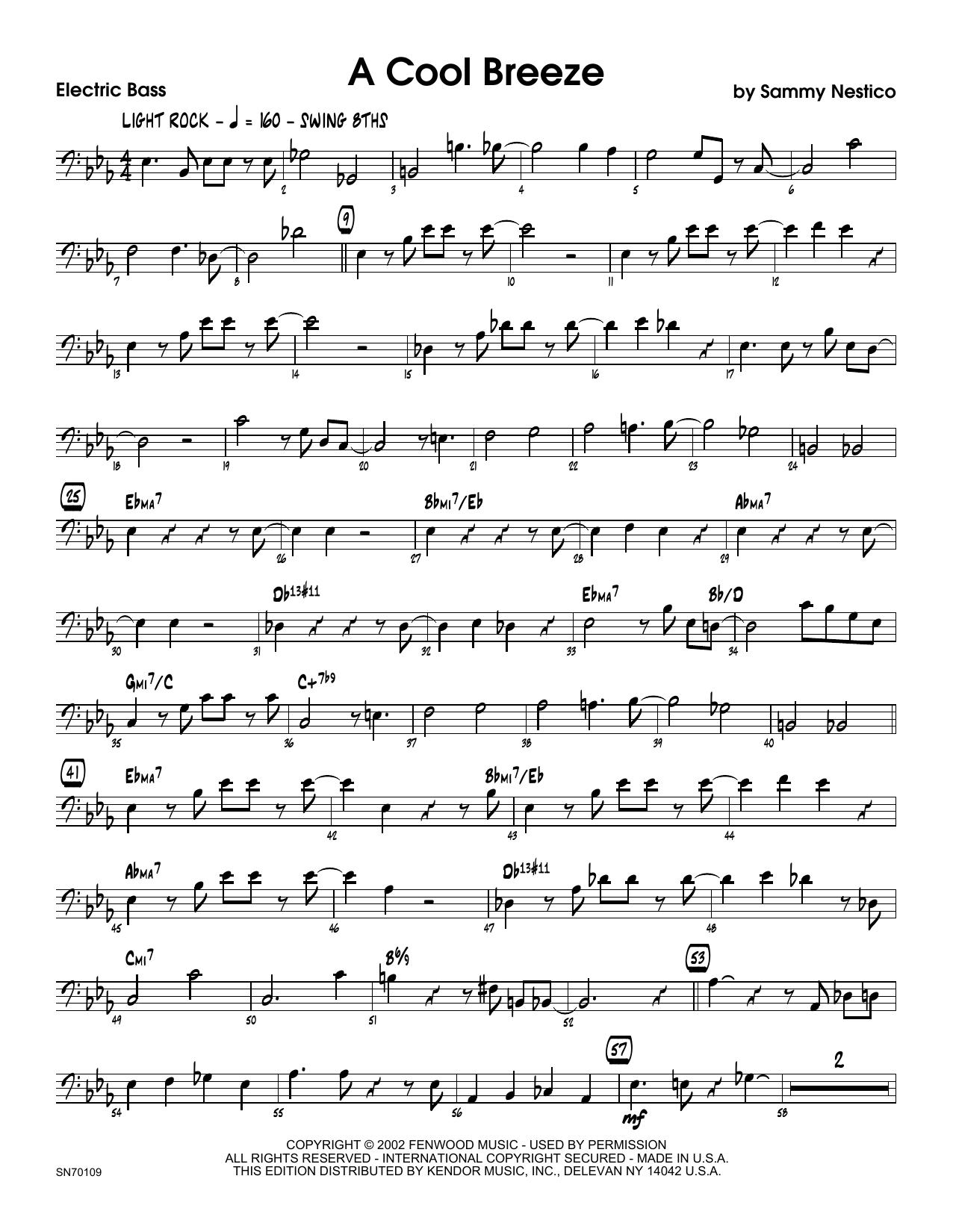 A Cool Breeze - Bass Sheet Music