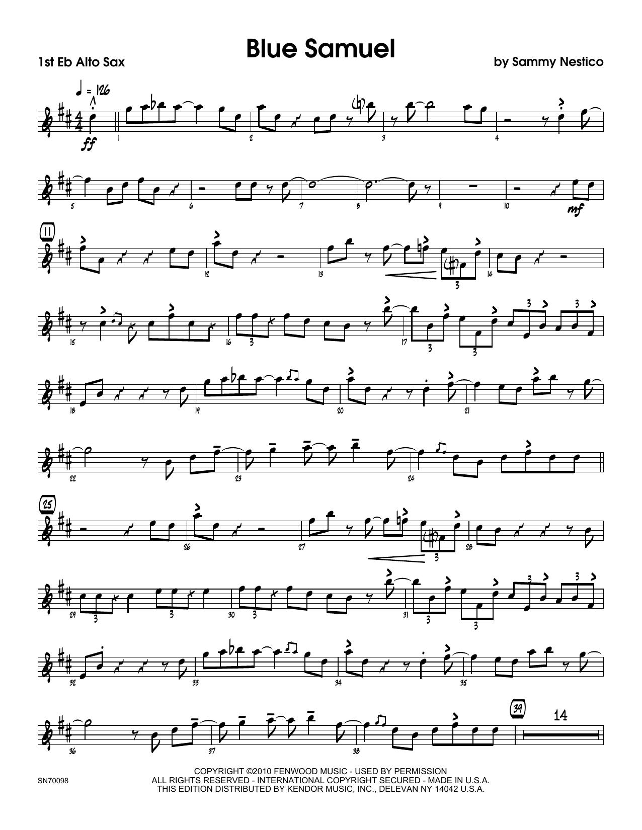Blue Samuel - 1st Eb Alto Saxophone Sheet Music