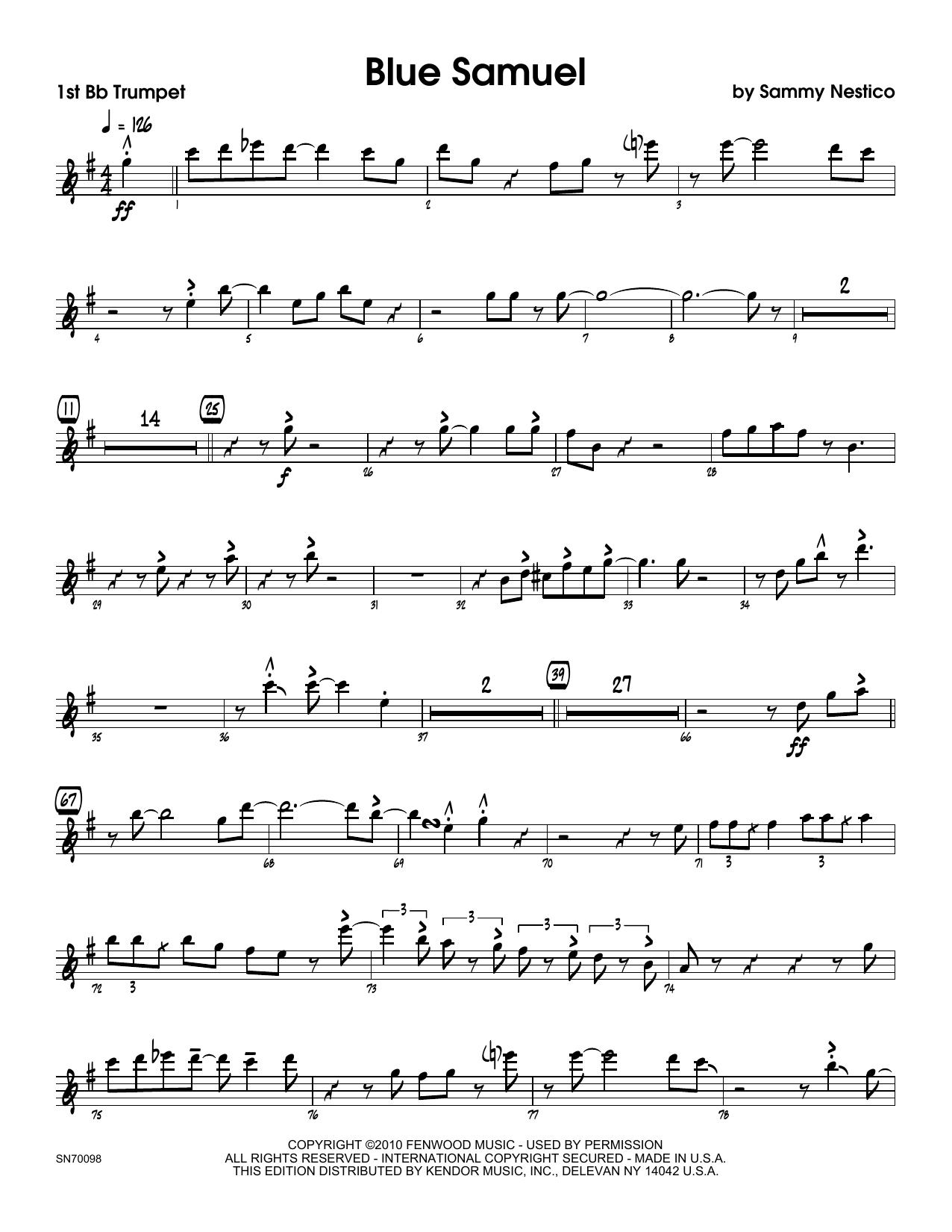 Blue Samuel - 1st Bb Trumpet Sheet Music